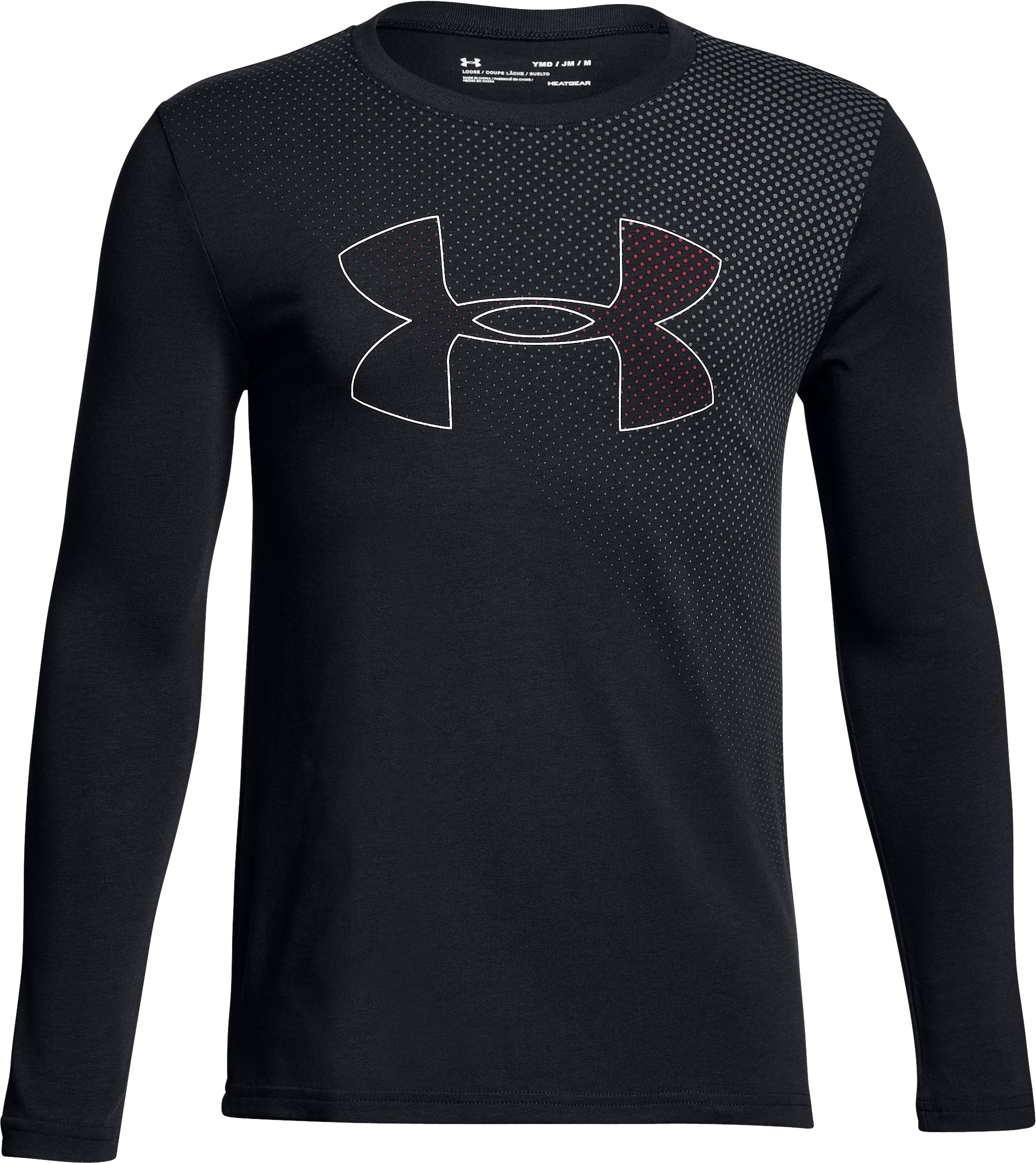 Boys' UA Halftone Branded Long Sleeve, Black