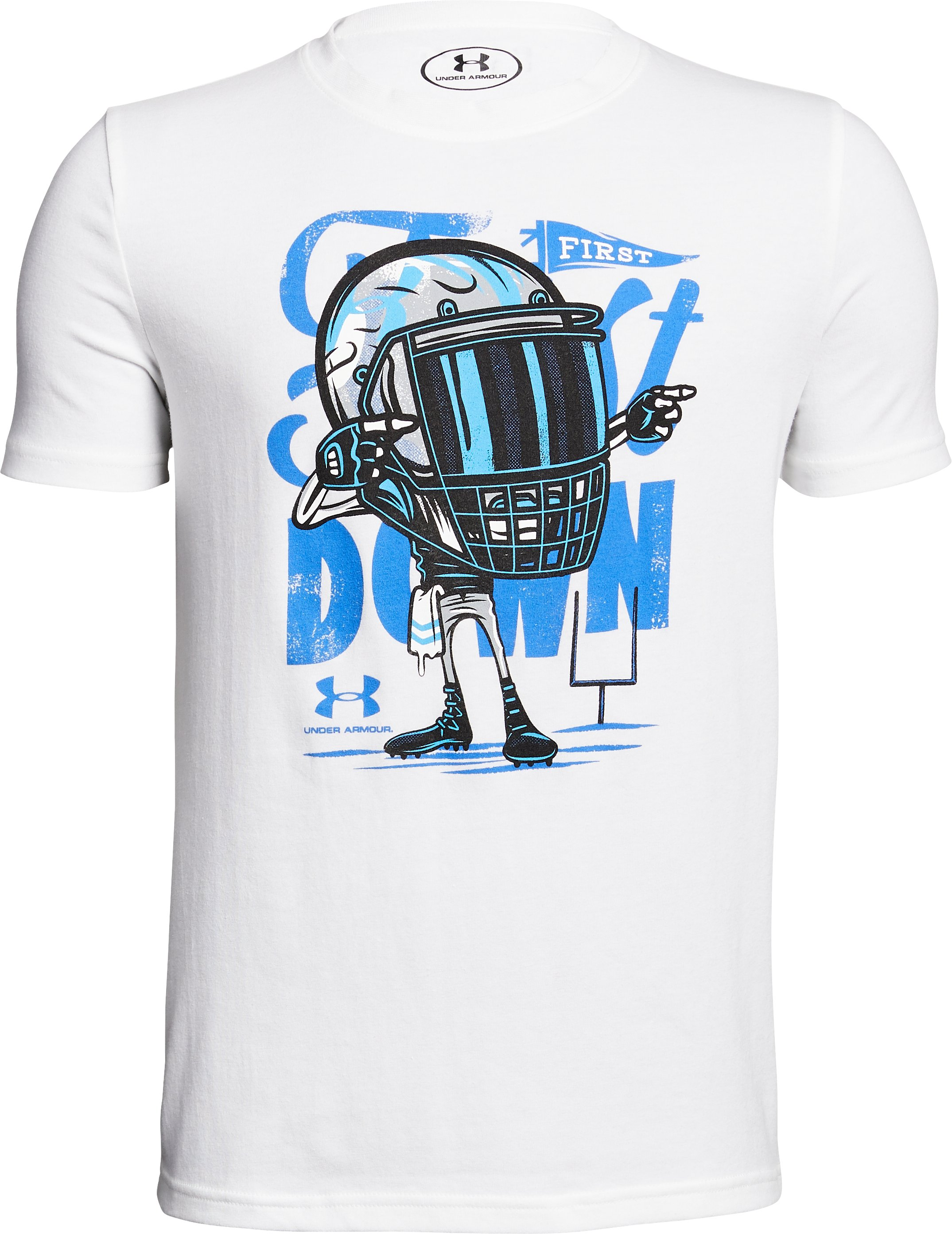 Boys' UA First Down T-Shirt, White,