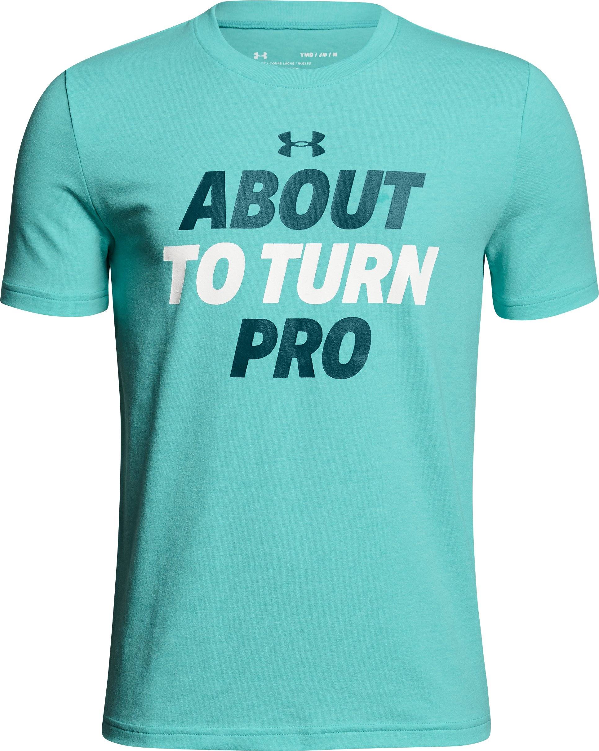 Boys' UA About To Turn Pro T-Shirt, TEAL PUNCH LIGHT HEATHER,