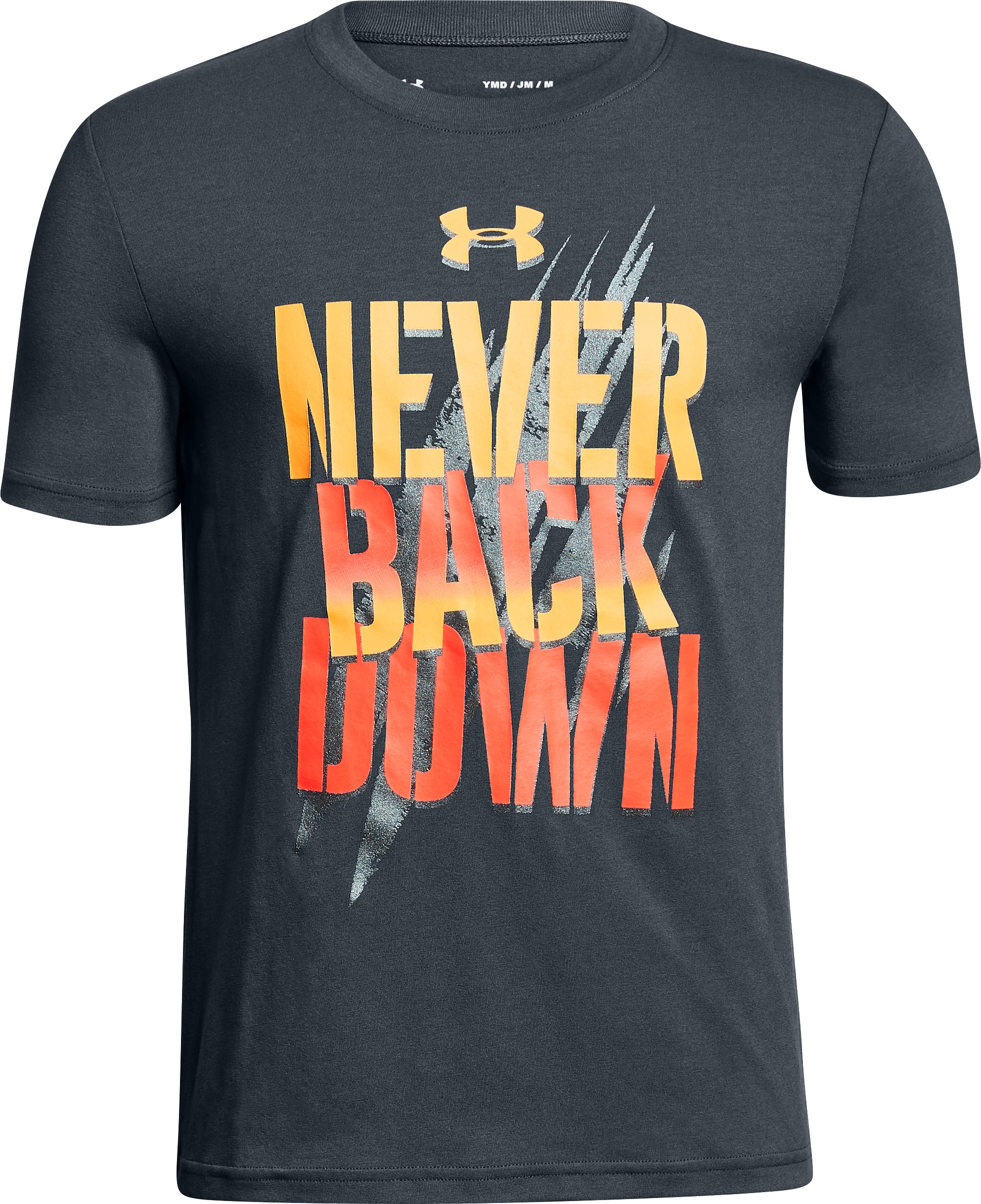 Boys' UA Never Back Down T-Shirt, STEALTH GRAY