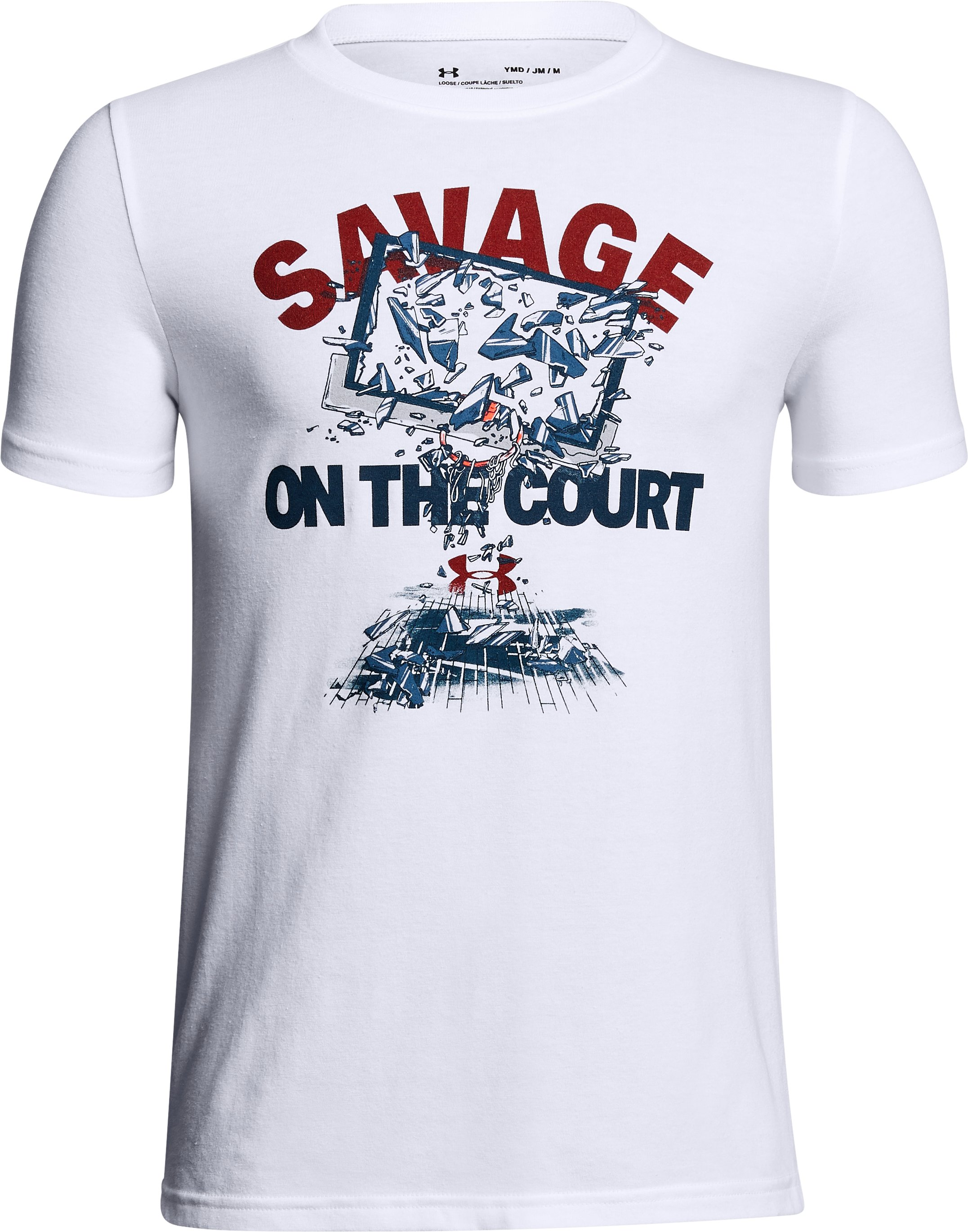 Boys' UA Savage On The Court T-Shirt, White,
