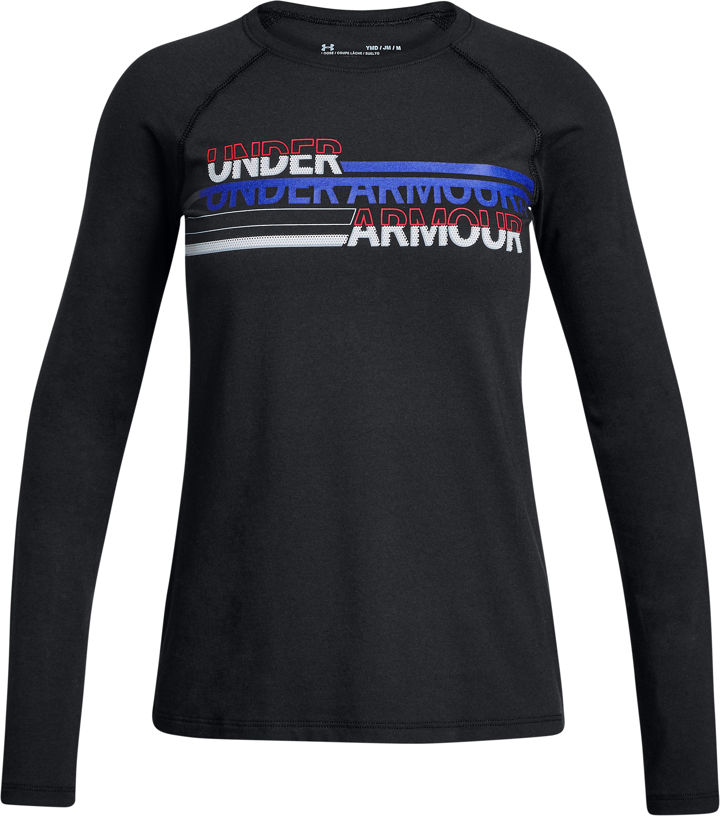 Girls' UA Cross Branded Long Sleeve, Black