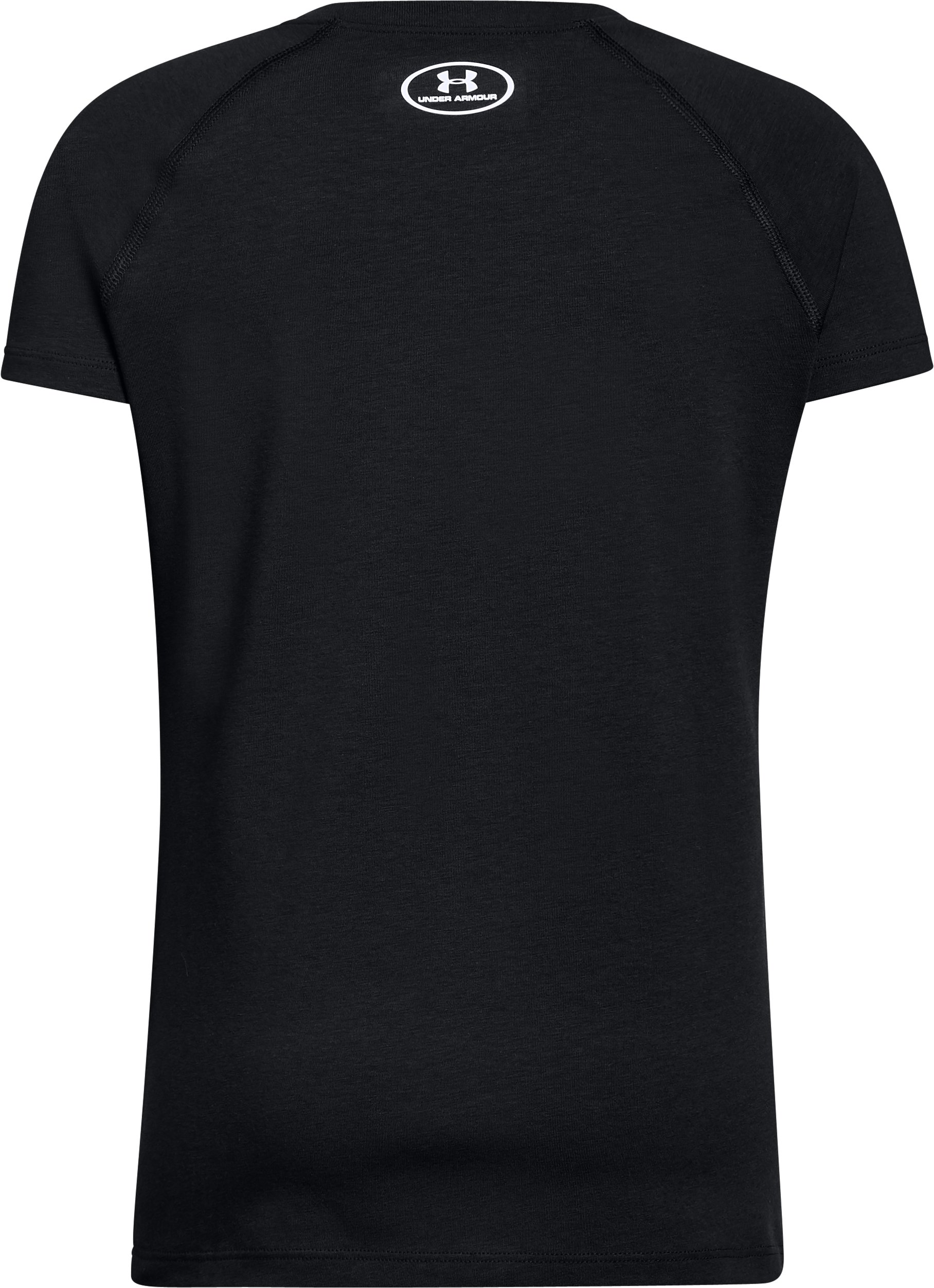 Girls' UA Asymmetric Branded T-Shirt, Black ,