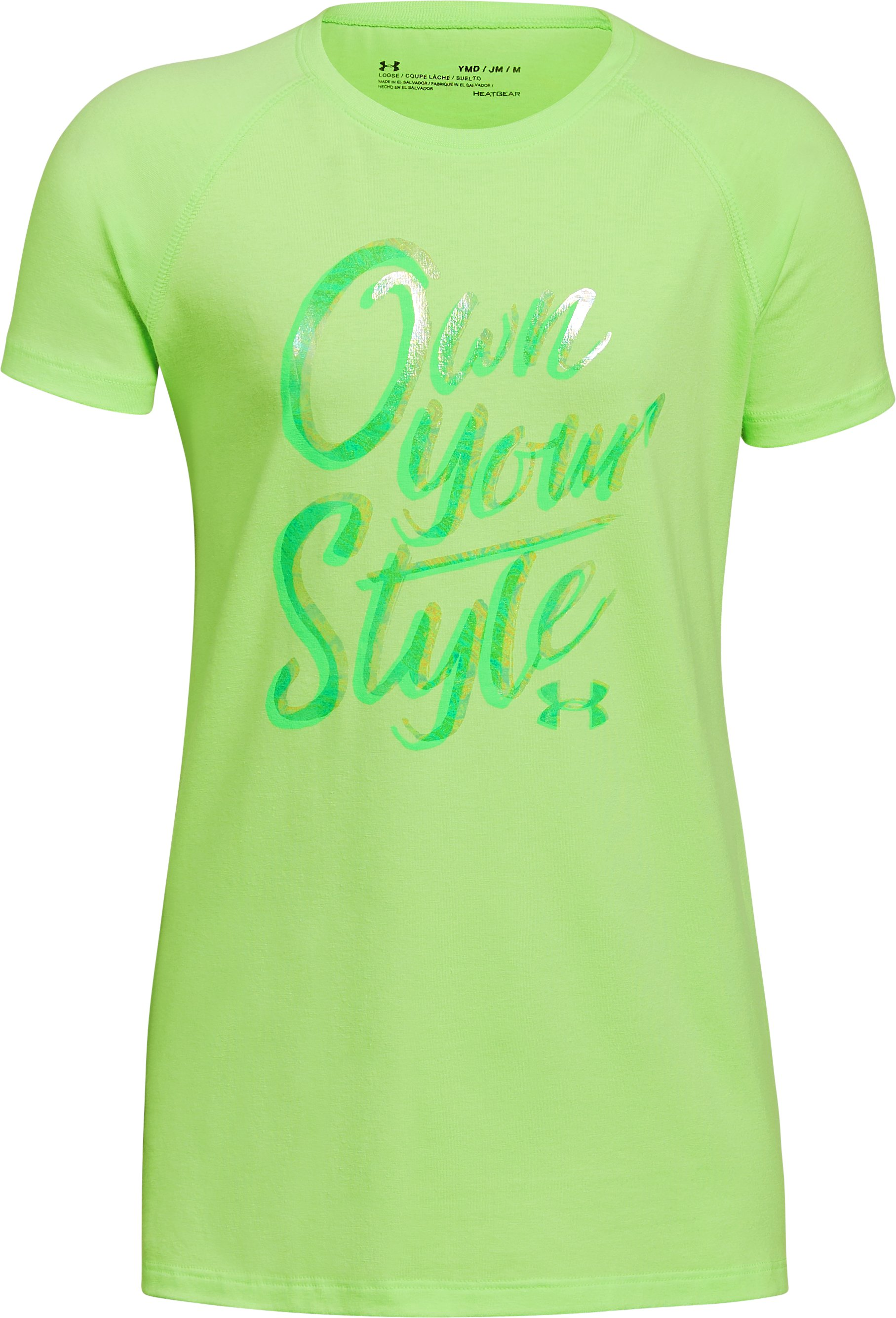 Girls' UA Own Your Style T-Shirt, LUMOS LIME,