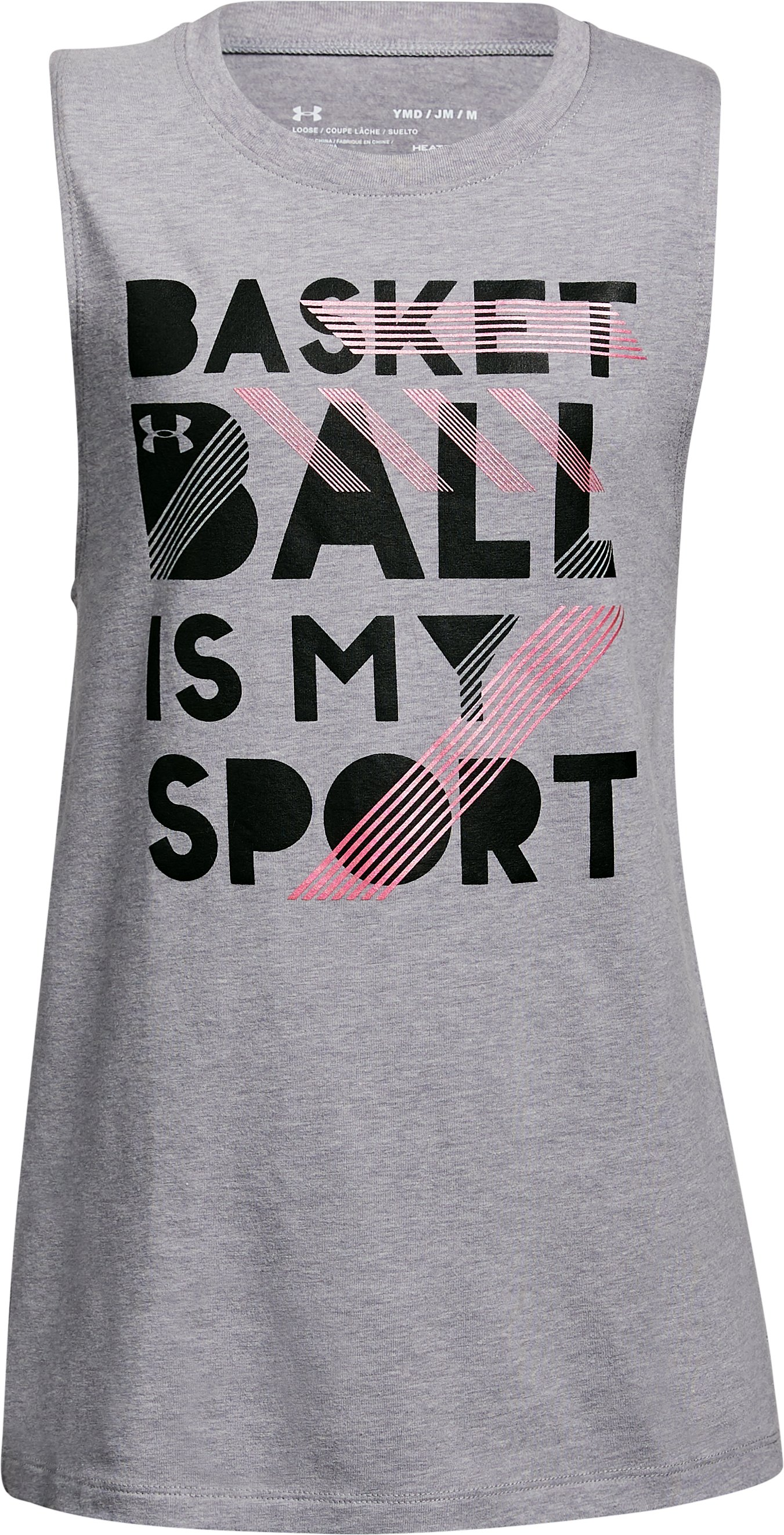 Girls' UA Bball Is My Sport Tank, STEEL LIGHT HEATHER, undefined