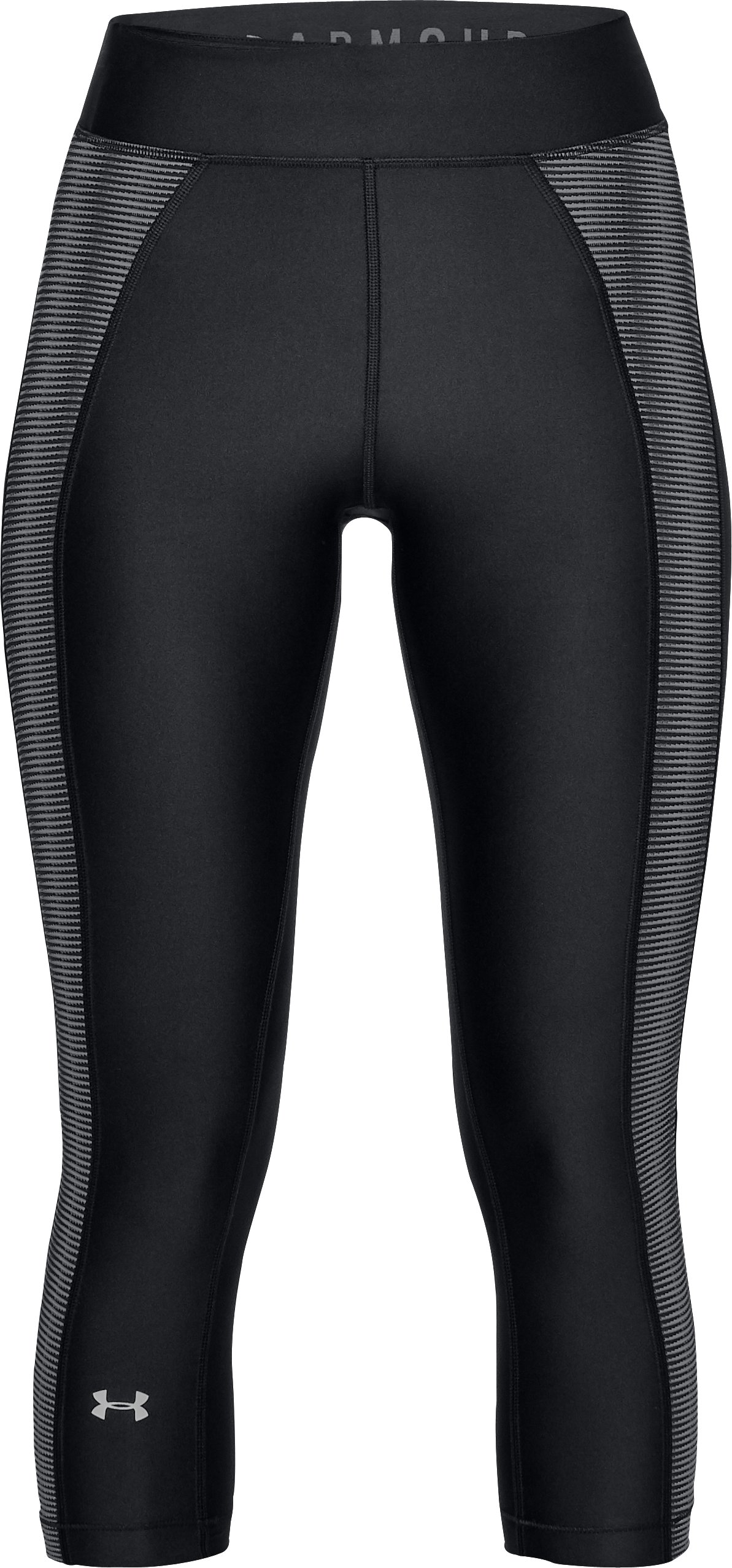 Women's HeatGear® Armour Jacquard Capris, Black , undefined