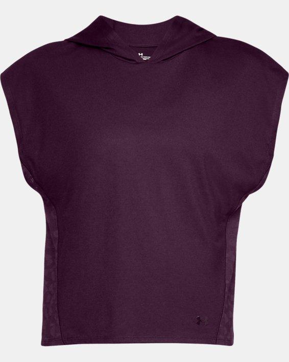 Women's UA Essentials Burnout Short Sleeve Hoodie, Purple, pdpMainDesktop image number 3