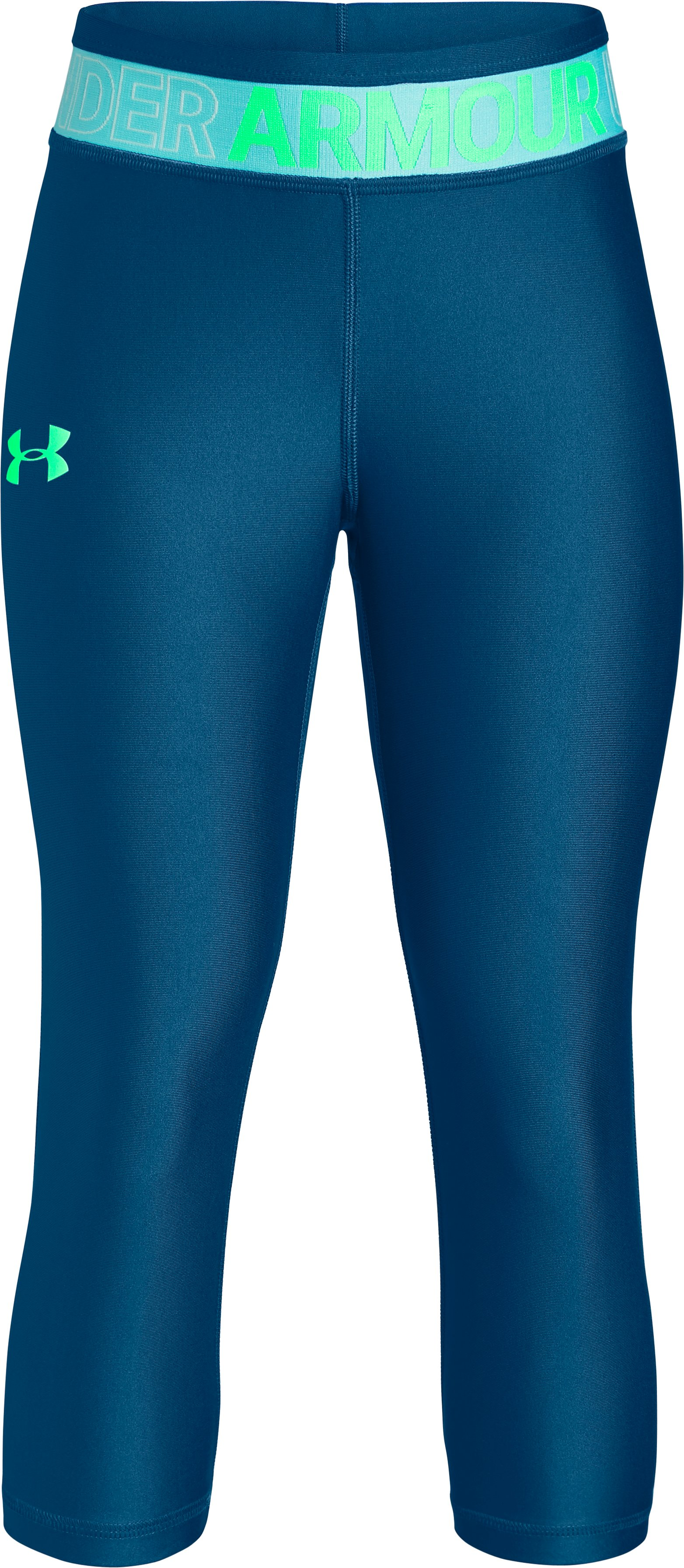 Girls' HeatGear® Armour Capris, MOROCCAN BLUE, undefined