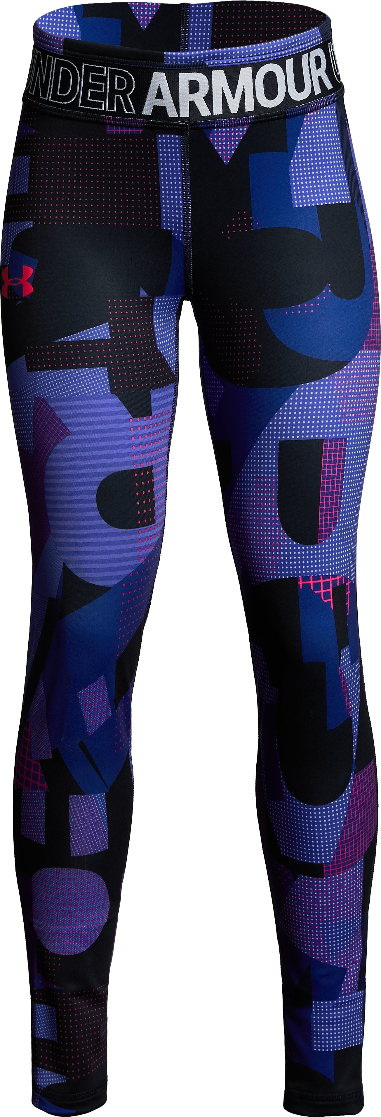 Girls' HeatGear® Armour Printed Leggings, Black