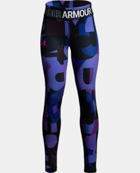 New Arrival  Girls' HeatGear® Armour Printed Leggings LIMITED TIME: FREE SHIPPING  $50