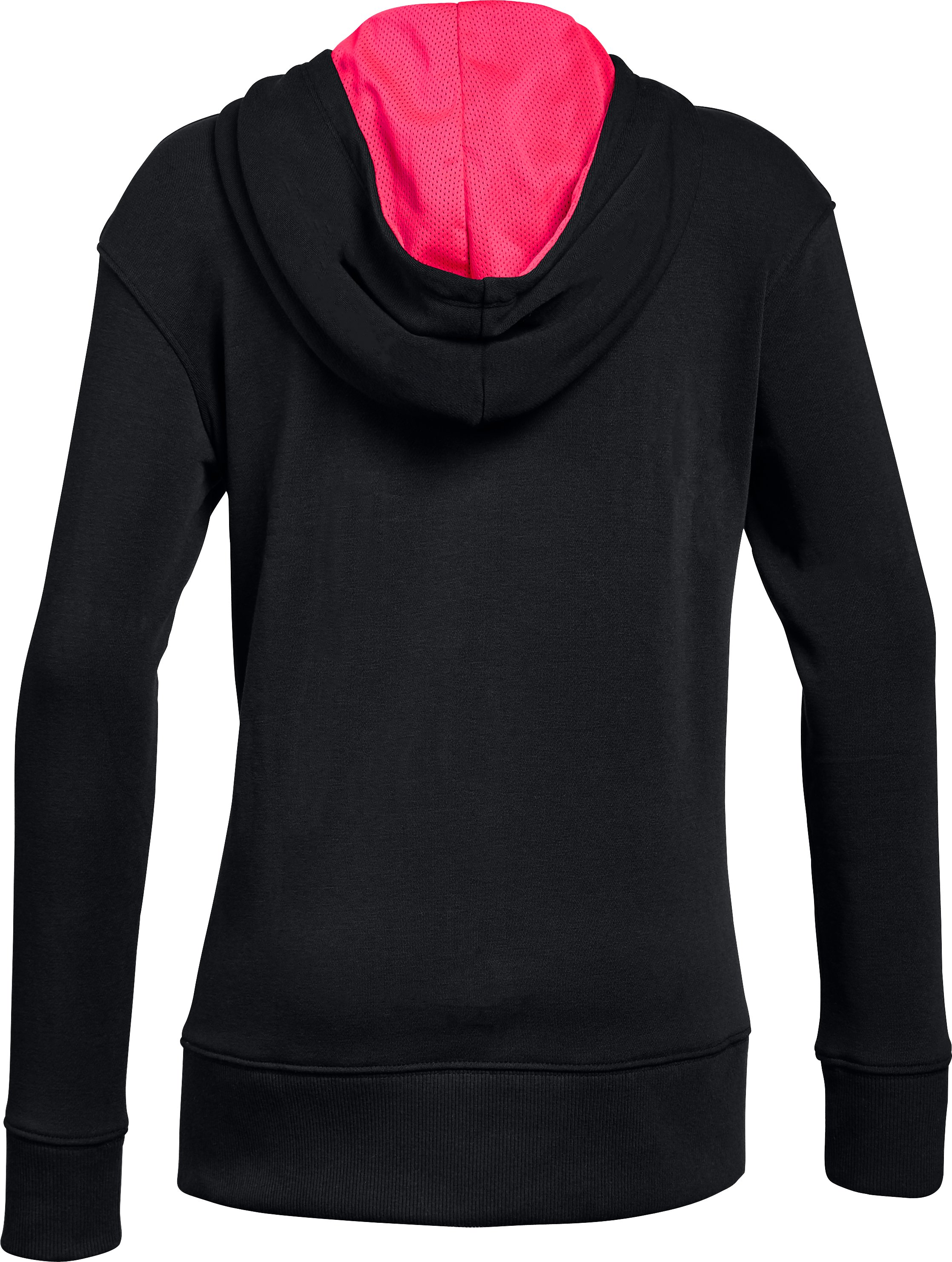 Girls' UA Microthread Terry Full Zip Hoodie, Black ,