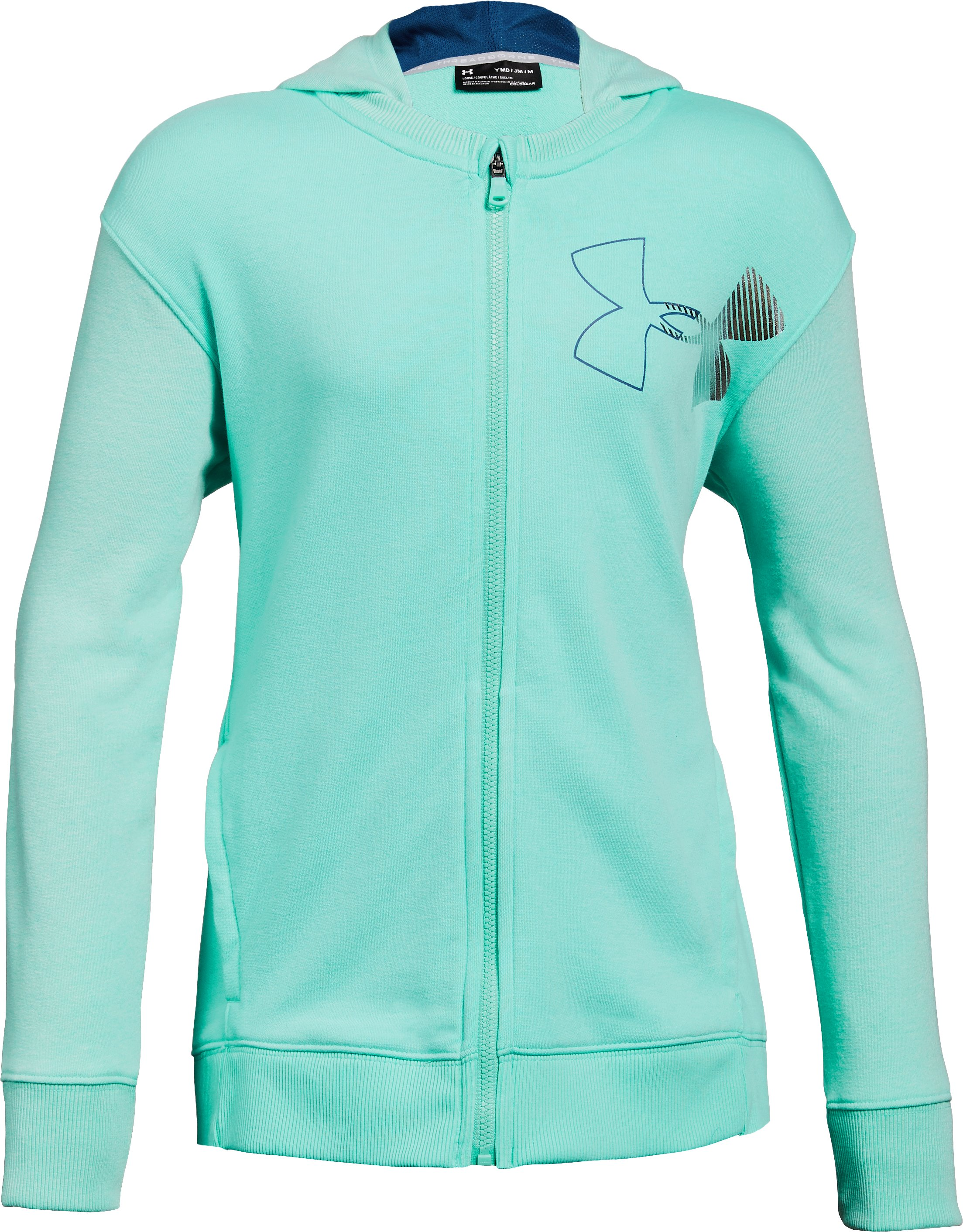 Girls' UA Microthread Terry Full Zip Hoodie, TROPICAL TIDE,