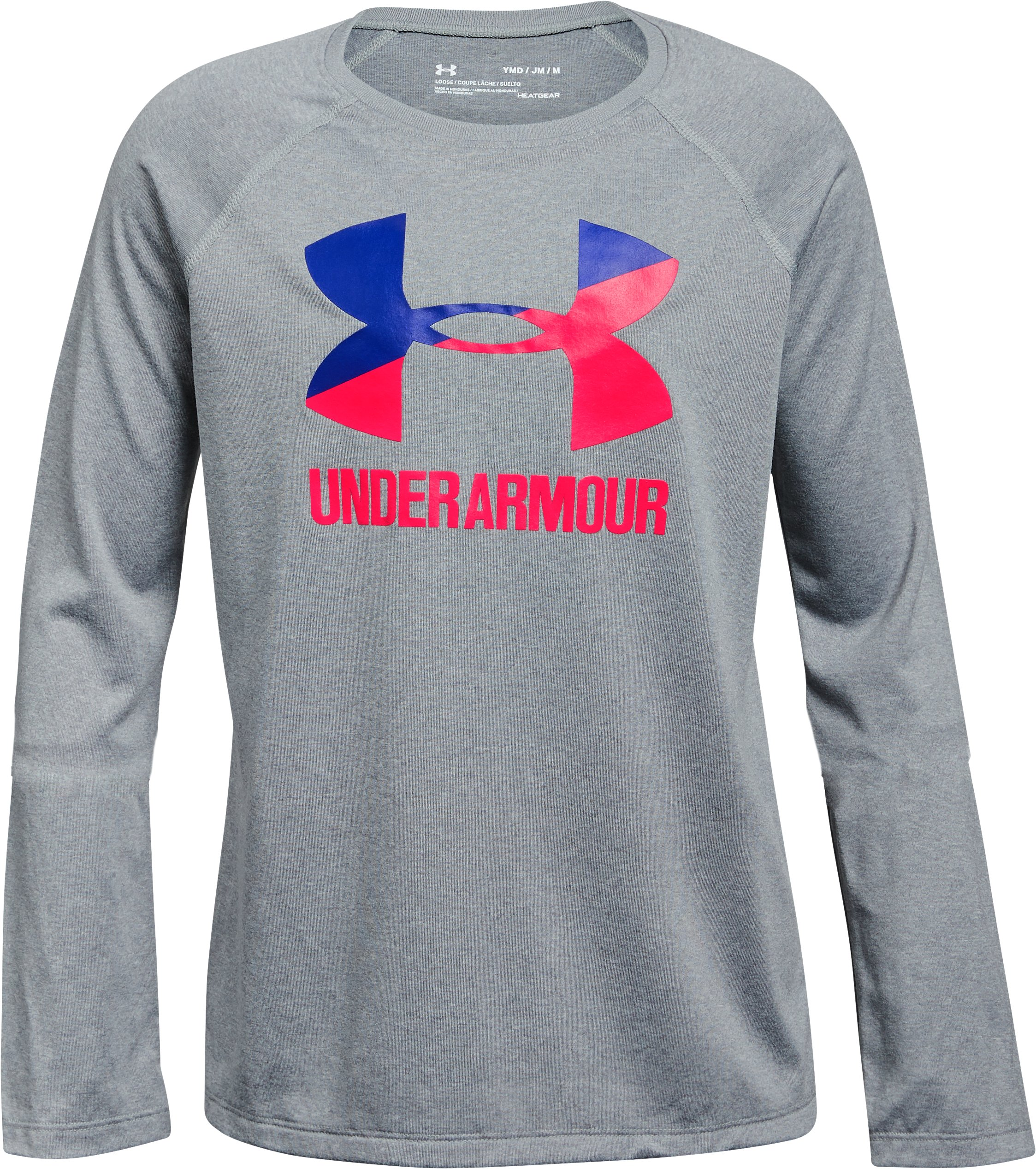 Girls' UA Big Logo Long Sleeve, STEEL LIGHT HEATHER,