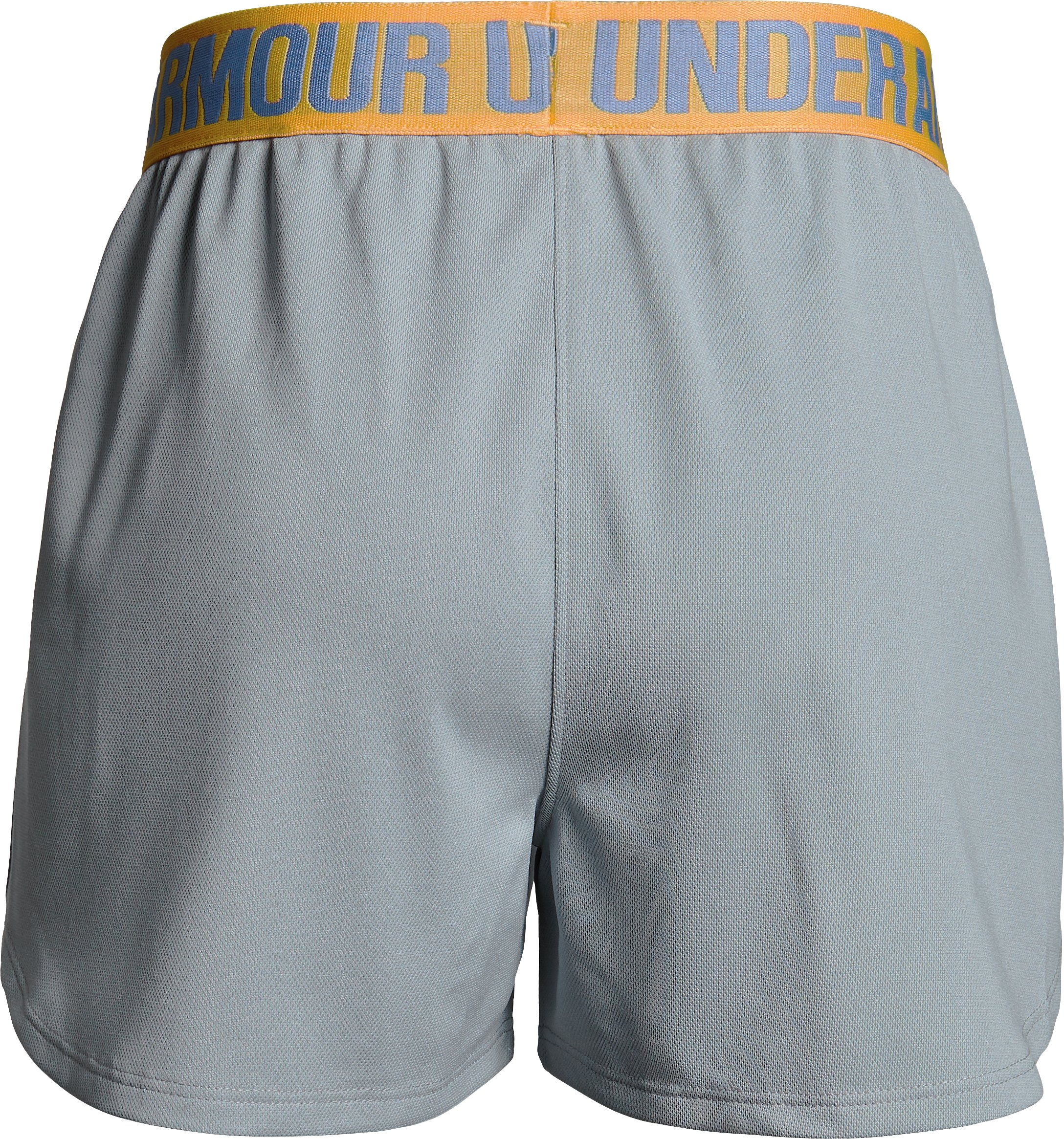 Girls' UA Play Up Graphic Shorts, OVERCAST GRAY LIGHT HEATHER,
