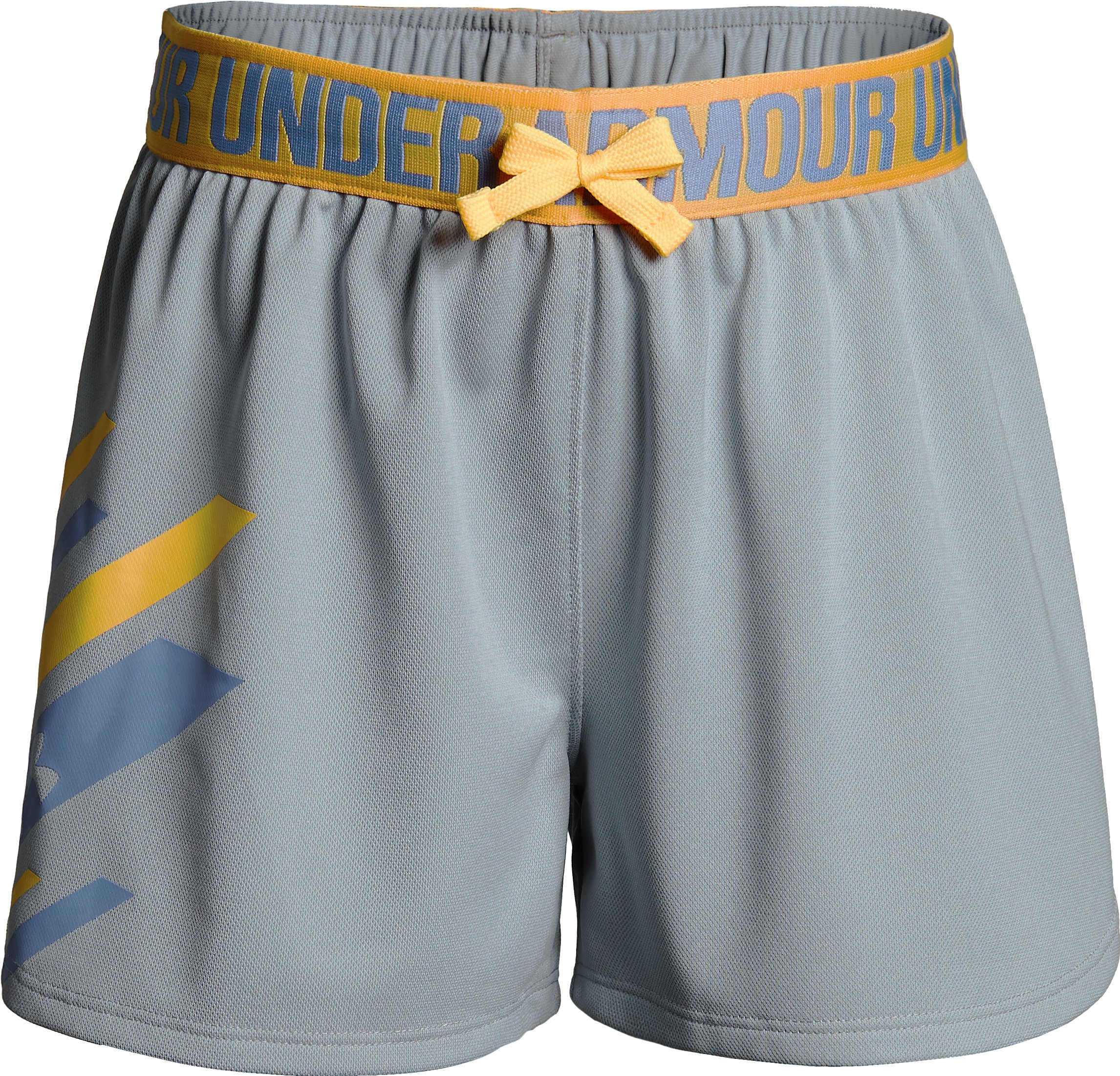 Girls' UA Play Up Graphic Shorts, OVERCAST GRAY LIGHT HEATHER