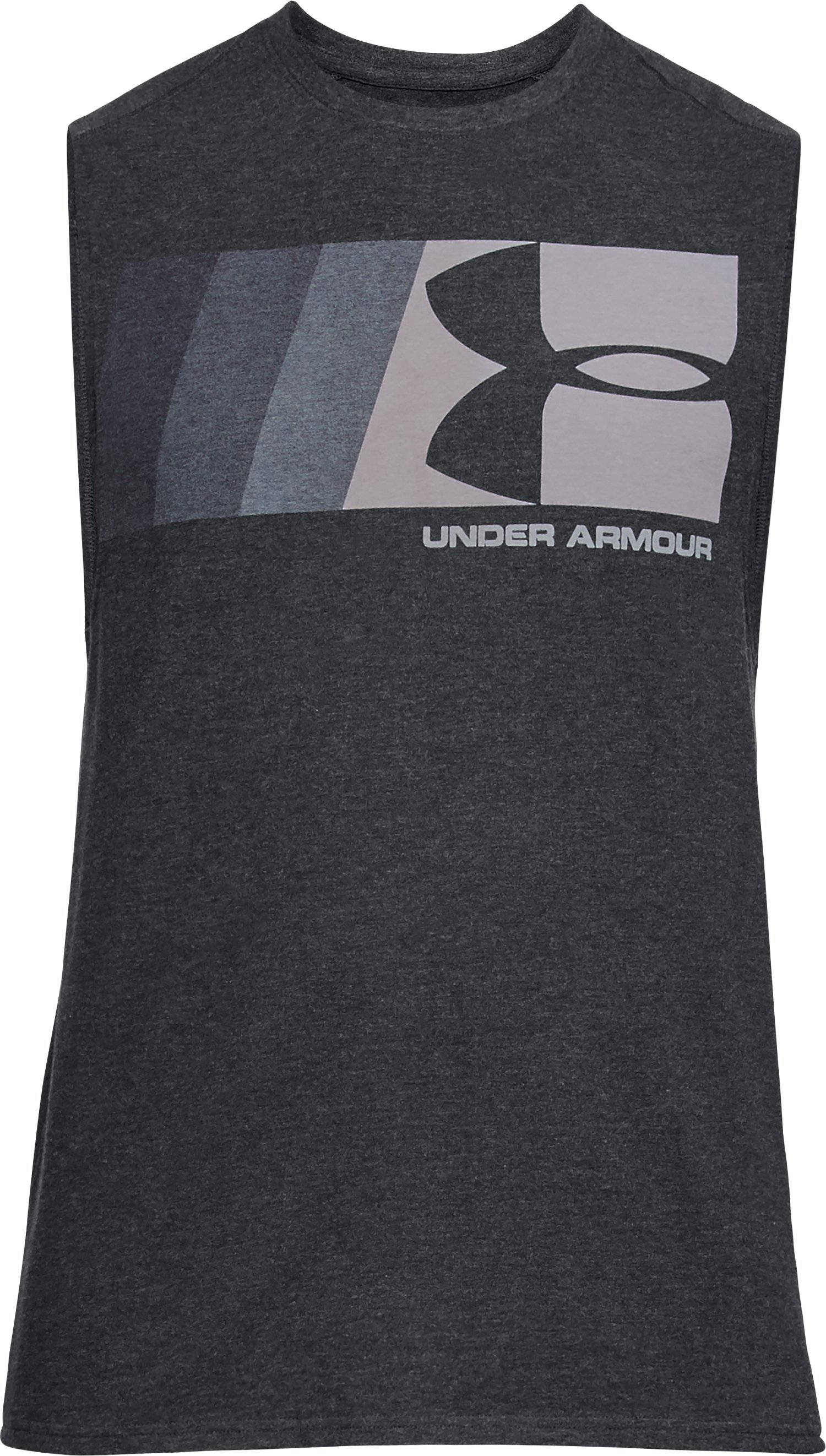 Men's UA Graphic Muscle Tank, BLACK MEDIUM HEATHER,