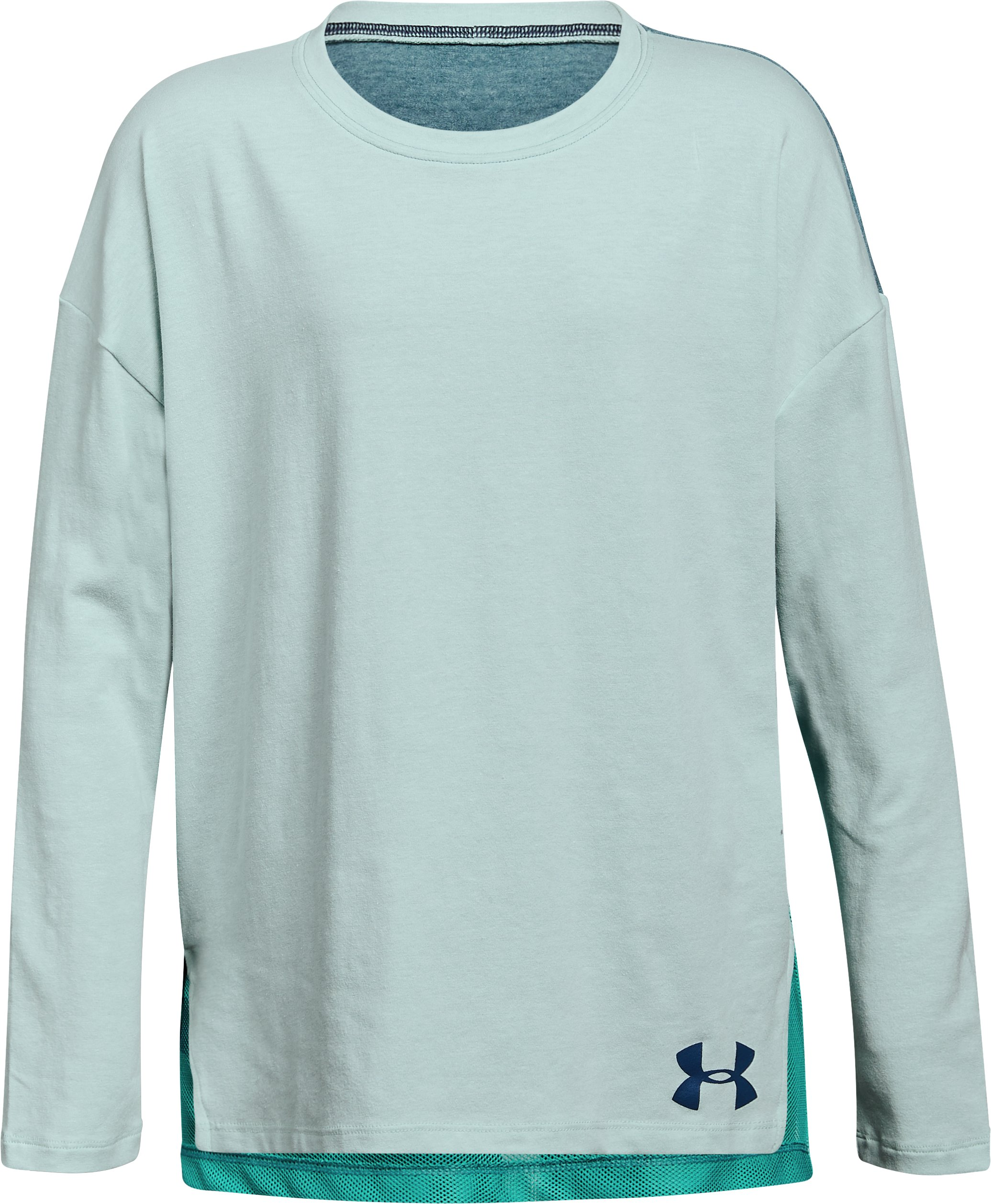Girls' UA Finale Long Sleeve, REFRESH MINT LIGHT HEATHER,
