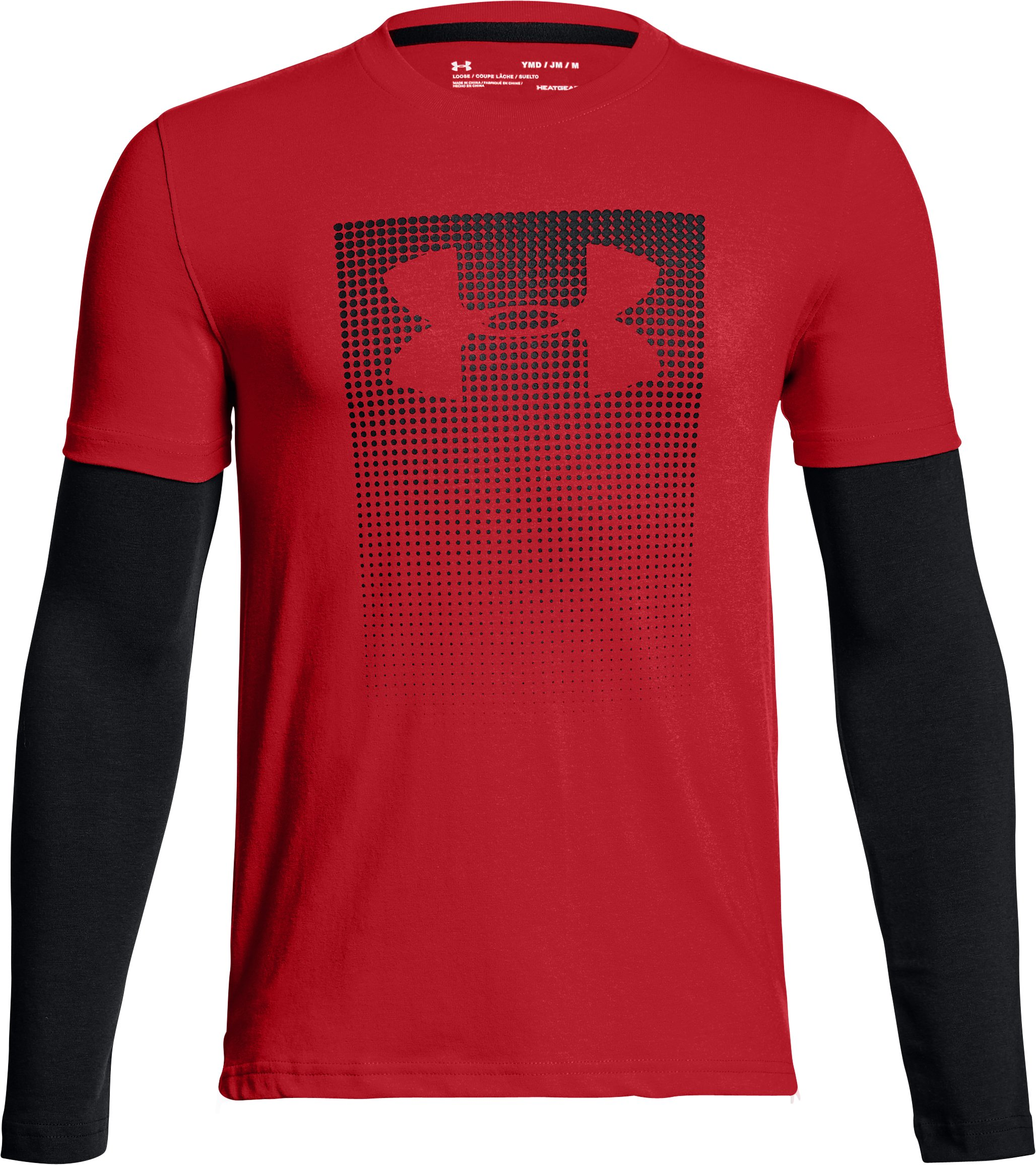 Boys' UA Knit 2-in-1 Long Sleeve, Red, undefined