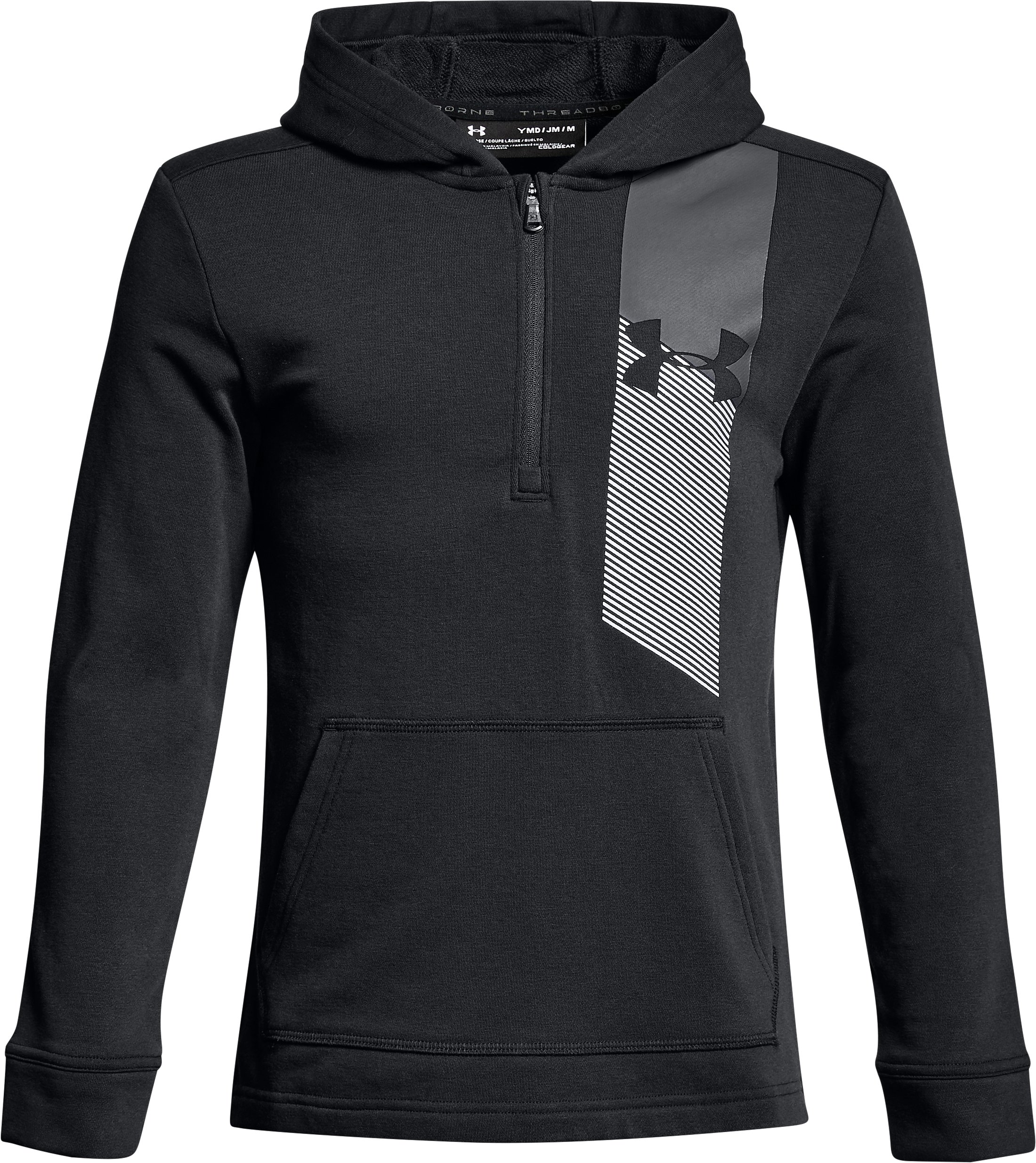 Boys' UA Microthread Terry ¼ Zip Hoodie, Black ,