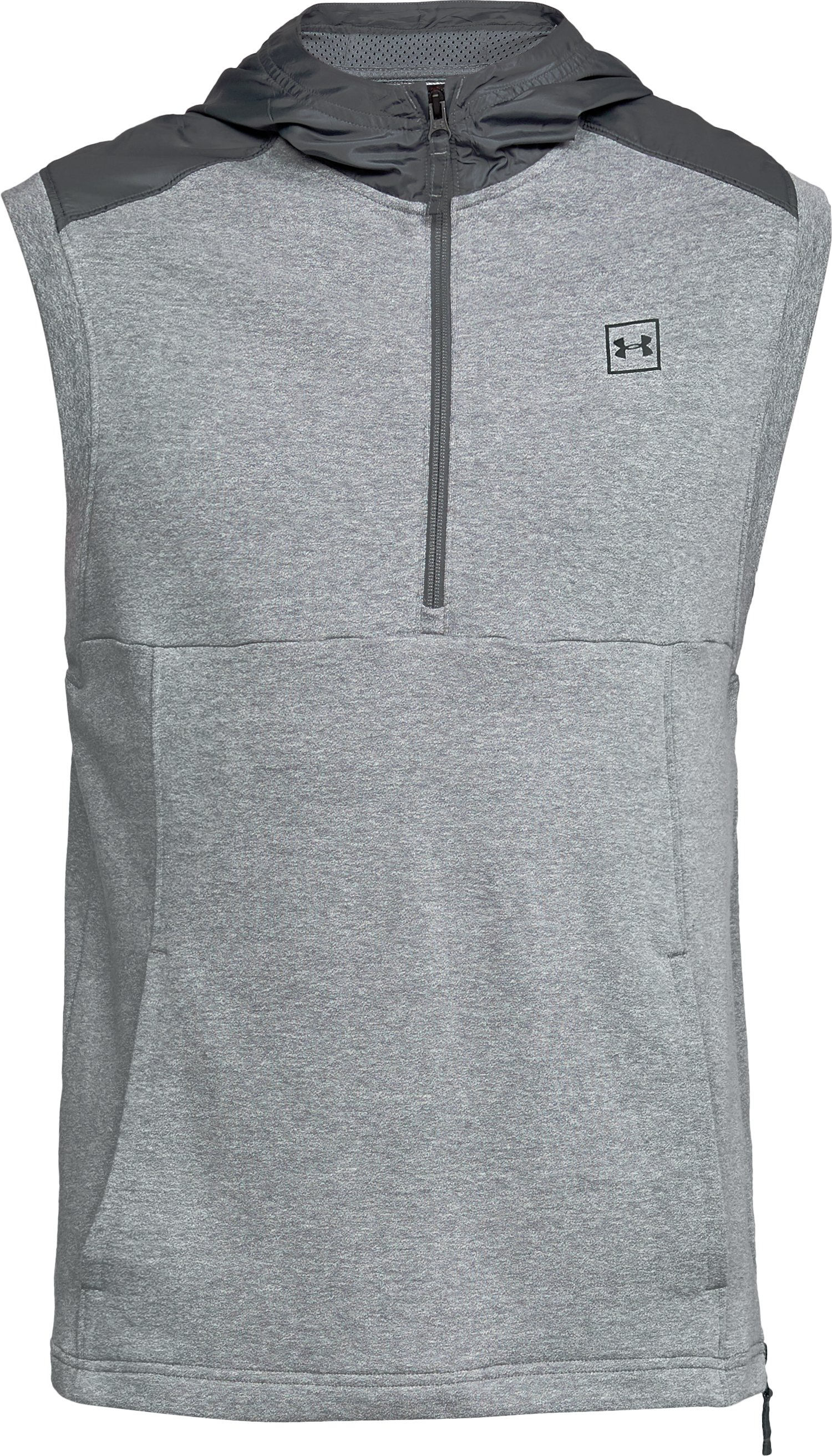 Men's UA Microthread Terry Sleeveless Hoodie, STEEL LIGHT HEATHER,