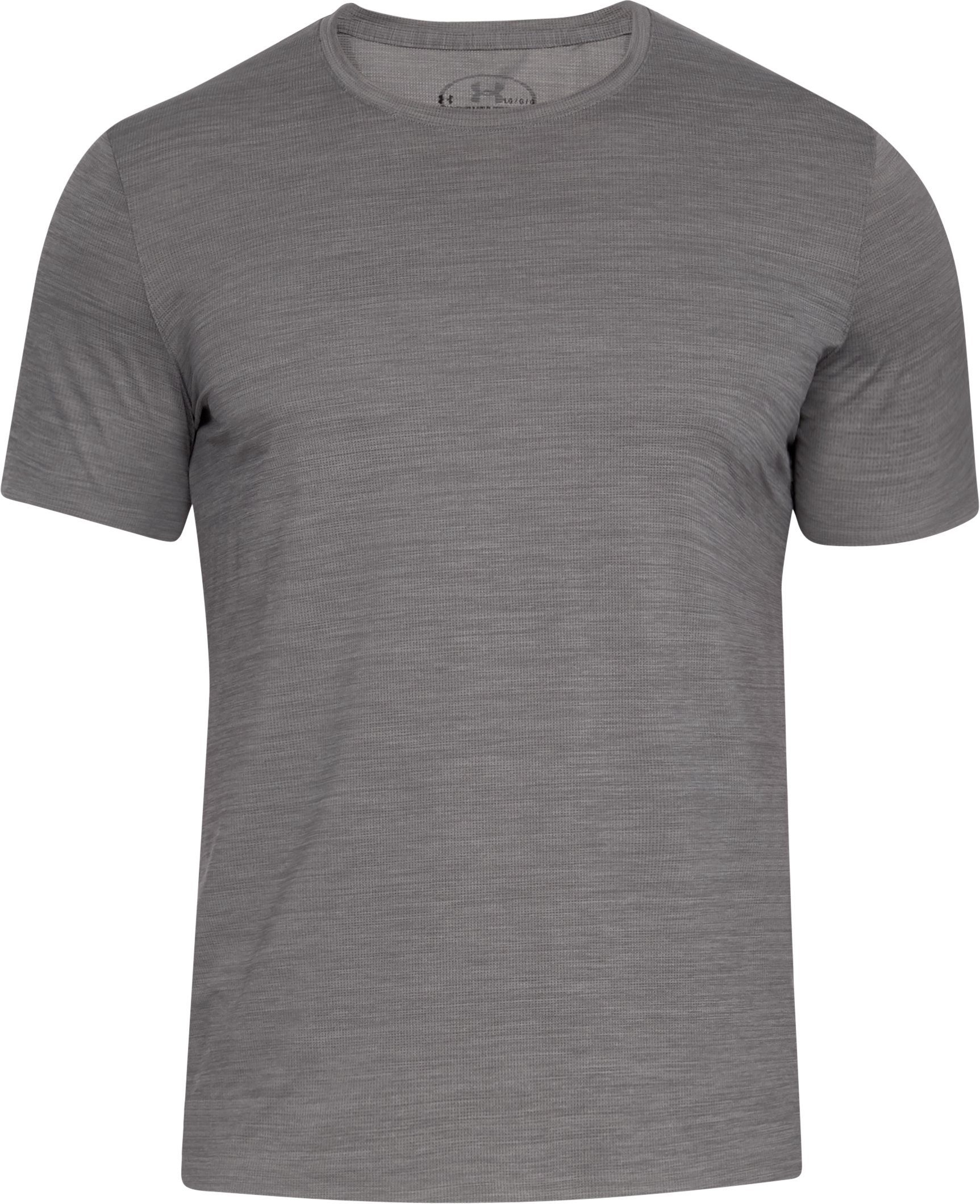 Men's ArmourVent® Short Sleeve Crew, CHARCOAL LIGHT HEATHER,