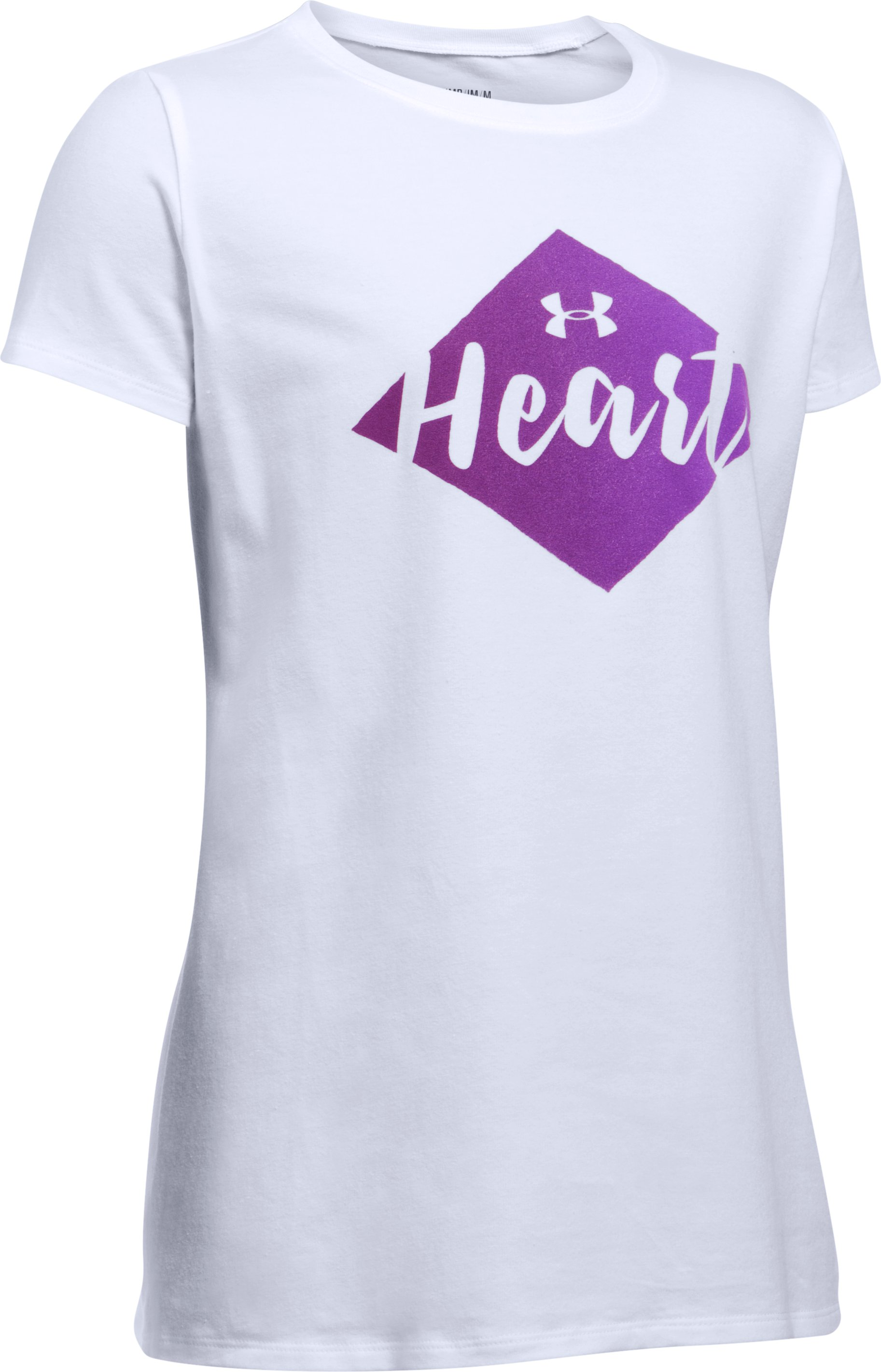 She Plays We Win UA Heart T-Shirt, White, undefined
