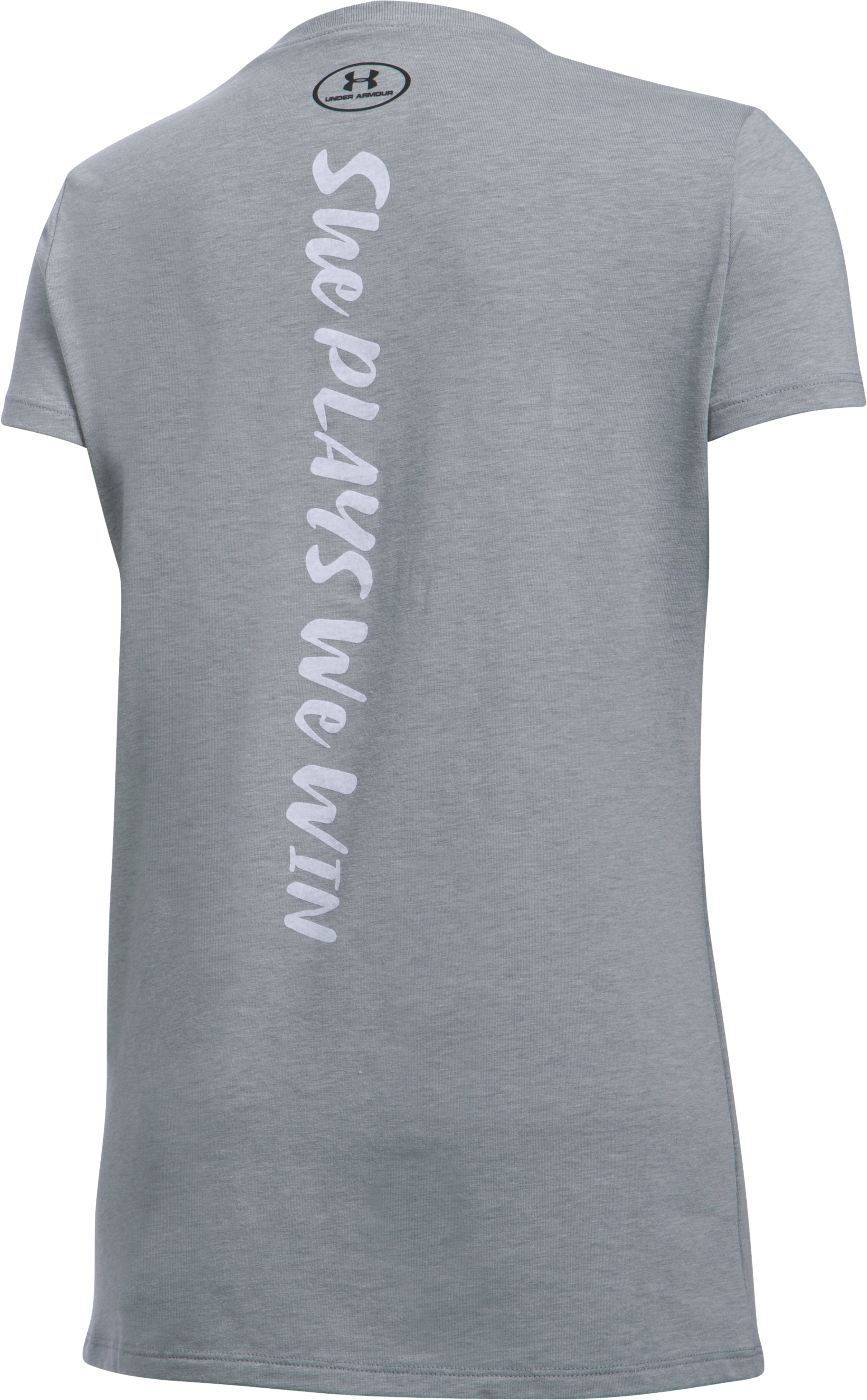 She Plays We Win UA Never Giving Up T-Shirt, True Gray Heather, undefined
