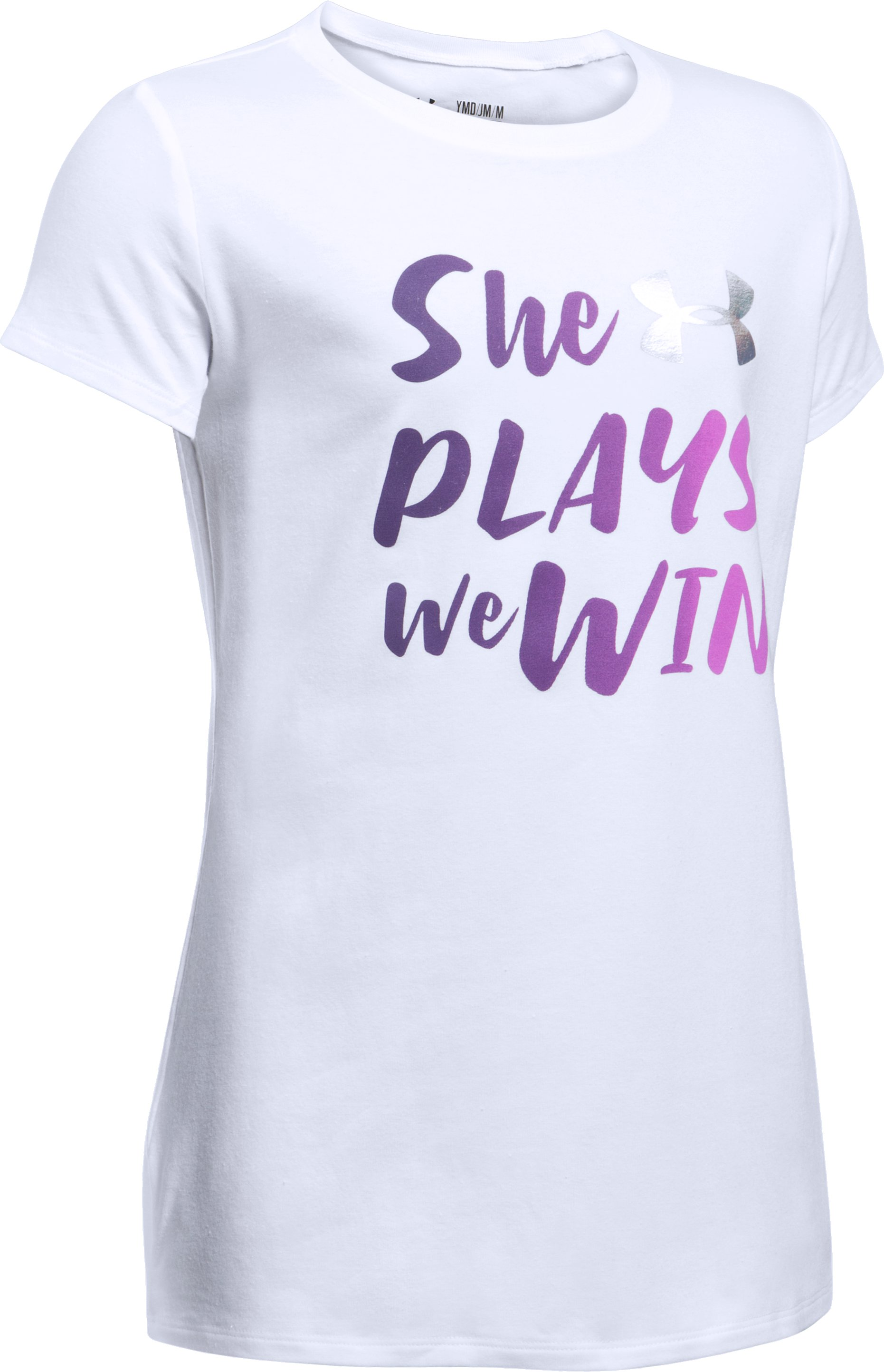She Plays We Win T-Shirt, White,