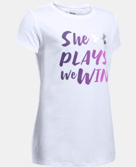 She Plays We Win T-Shirt  1 Color $14.99