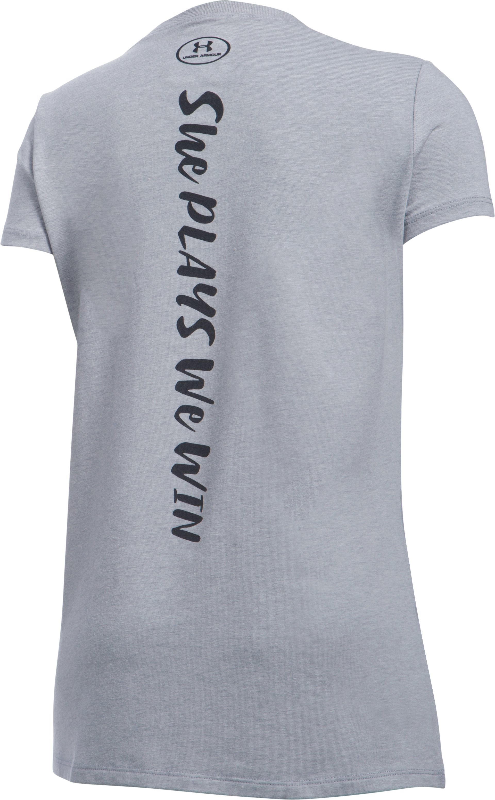 She Plays We Win UA Strong T-Shirt, True Gray Heather,