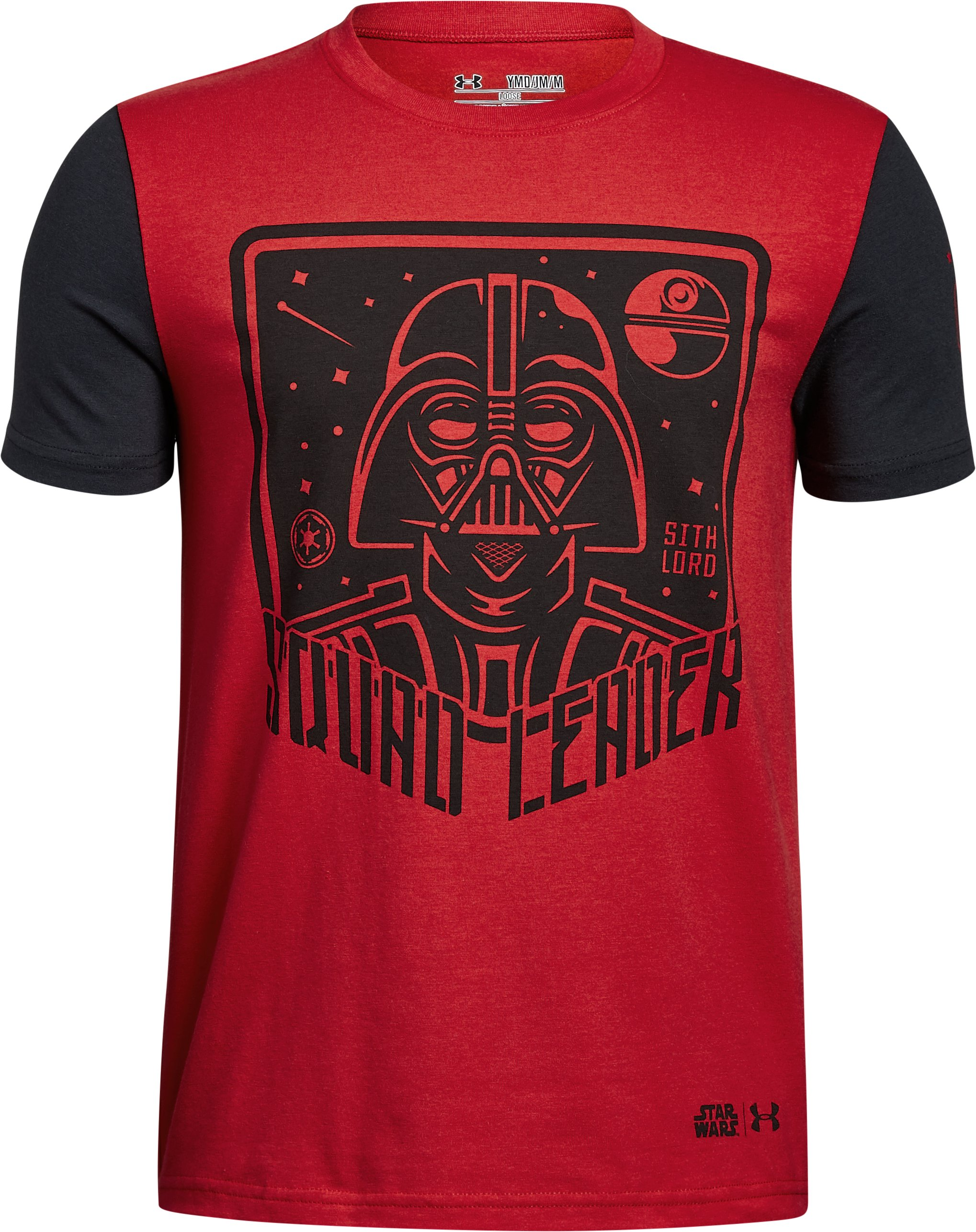 youth large t shirts Boys' Star Wars UA Squad Leader T-Shirt As always, under armour delivers perfection in this item....Fits great, 10 year old loves it....Awesome shirt!