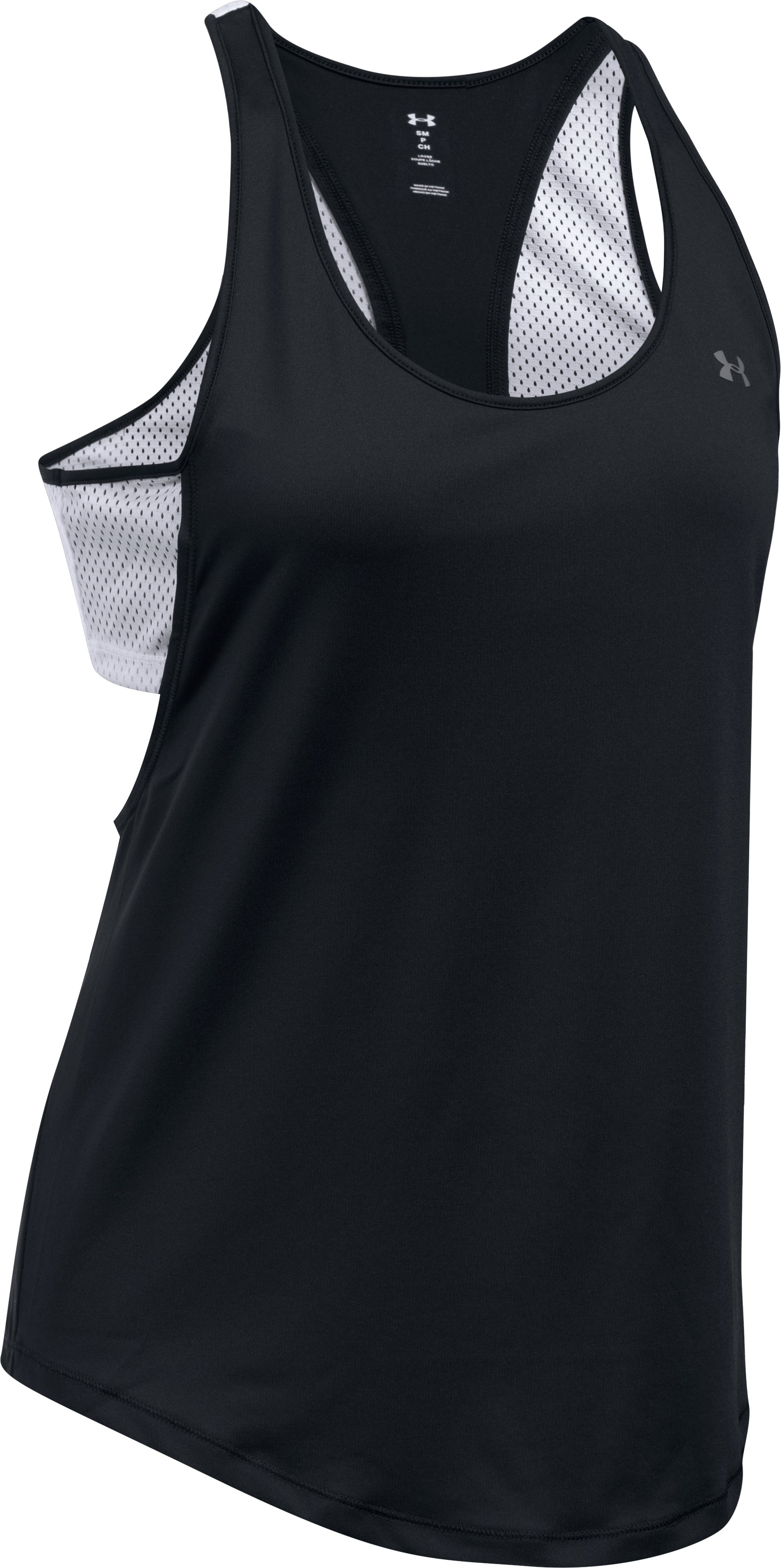 Women's UA Flashy Faux 2-in-1 Tank, Black ,