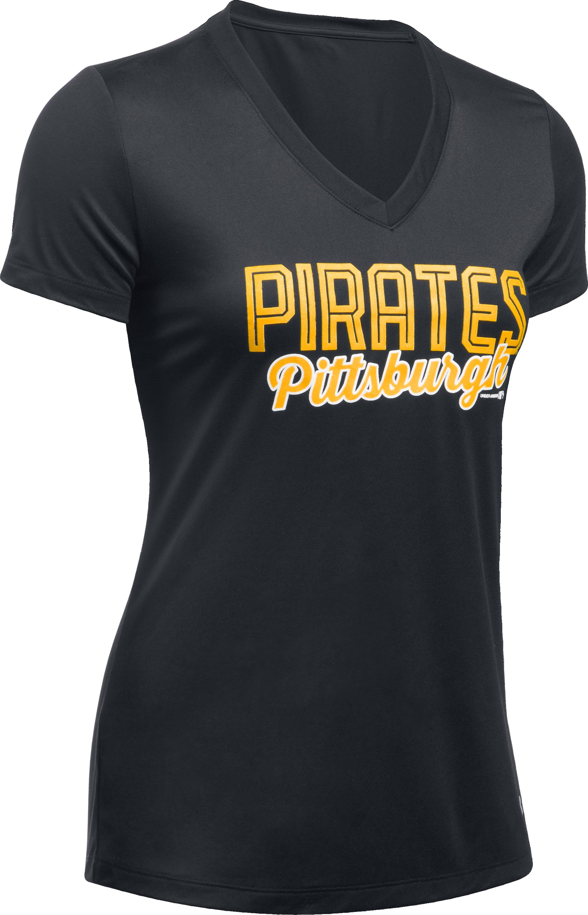 Women's Pittsburgh Pirates UA Tech™ V-Neck T-Shirt, Black ,