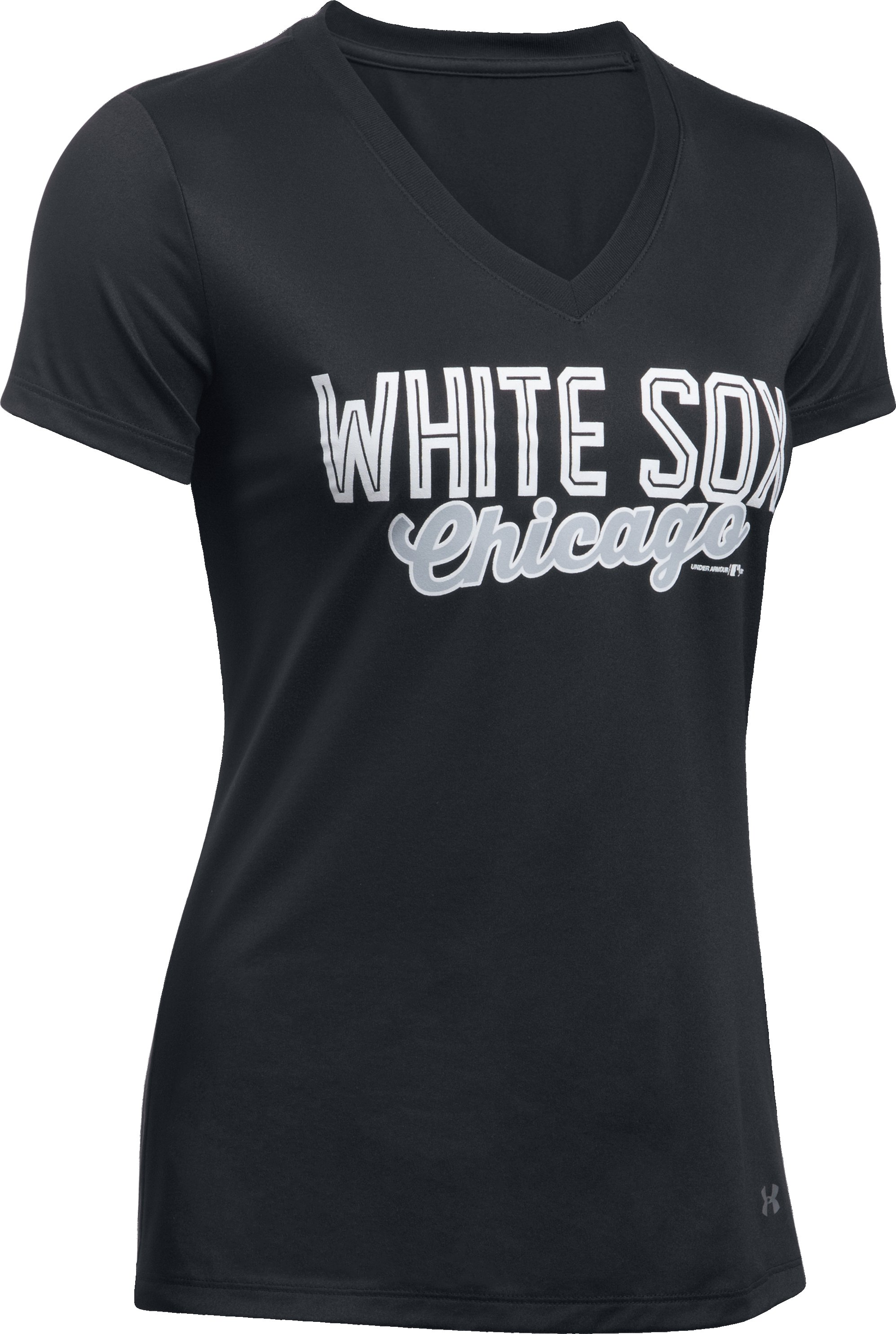 Women's Chicago White Sox UA Tech™ V-Neck T-Shirt, Black , undefined