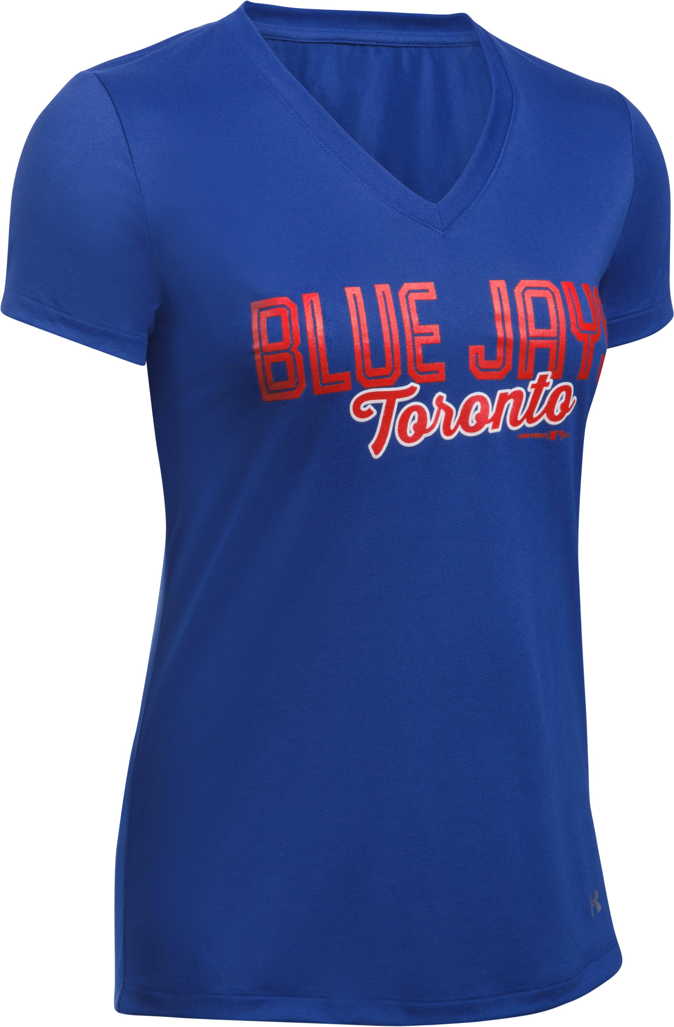 Women's Toronto Blue Jays UA Tech™ V-Neck T-Shirt, Royal,