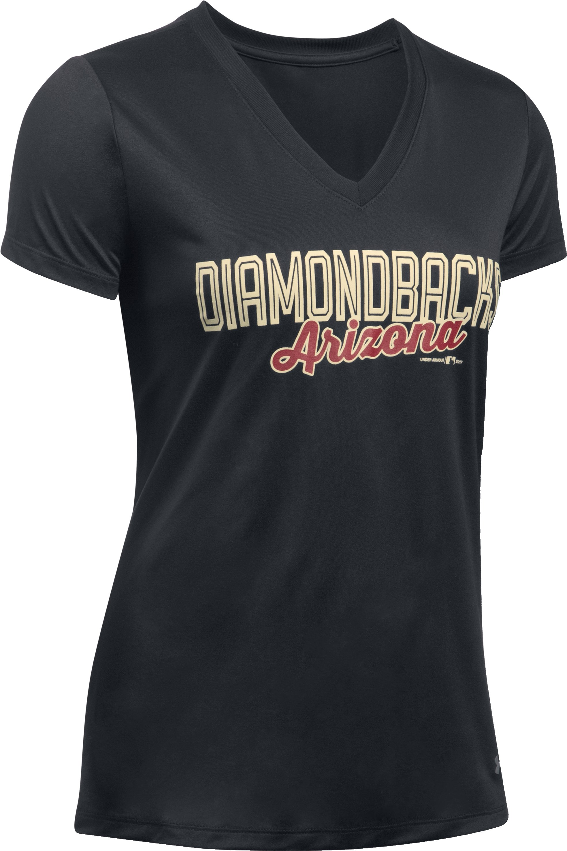 Women's Arizona Diamondbacks UA Tech™ V-Neck T-Shirt, Black , undefined