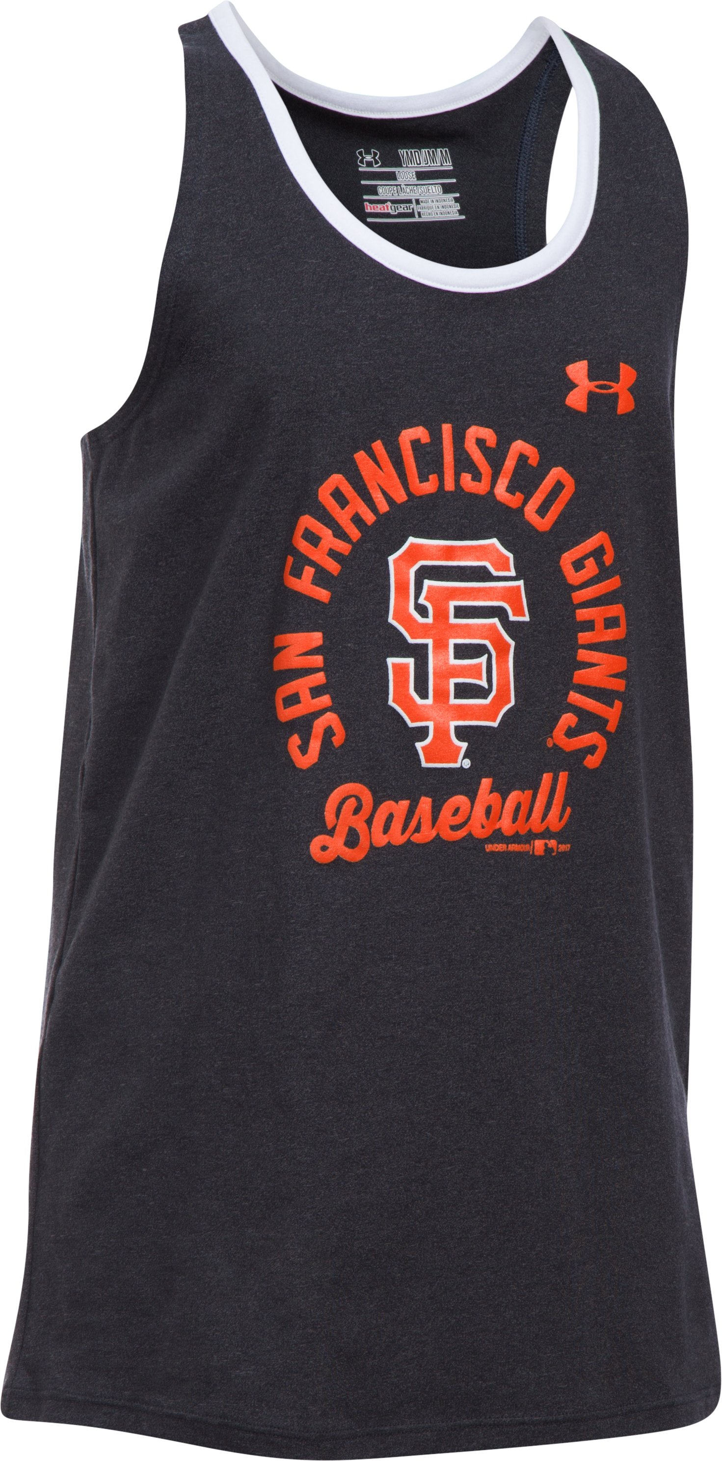 Girls' San Francisco Giants Ringer Tank, Black , undefined