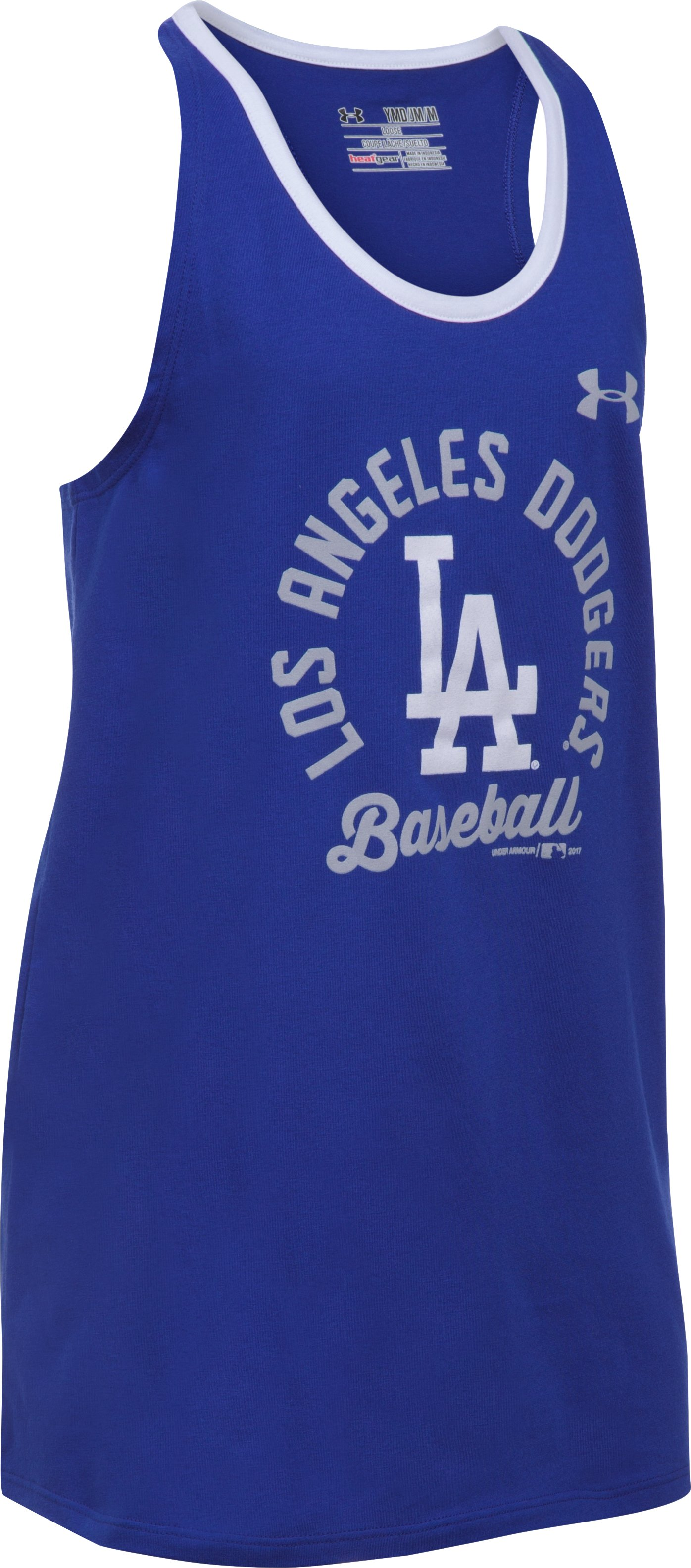Girls' Los Angeles Dodgers Ringer Tank, Royal, undefined