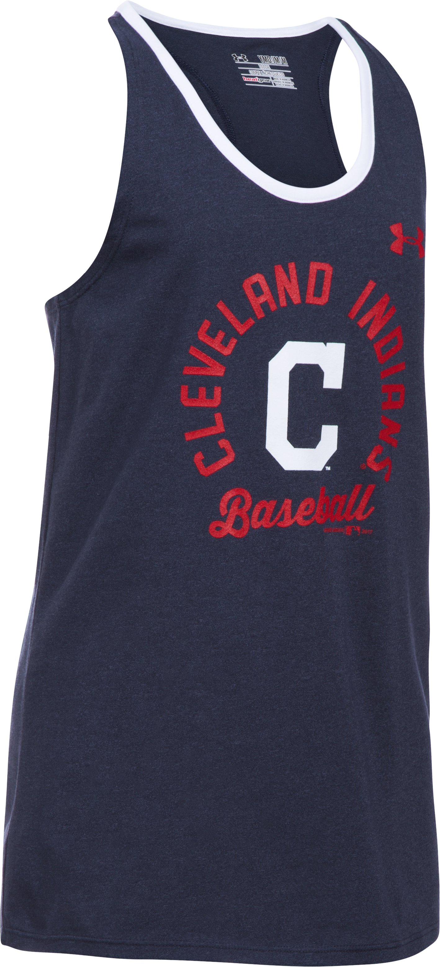Girls' Cleveland Indians Ringer Tank, Midnight Navy, undefined