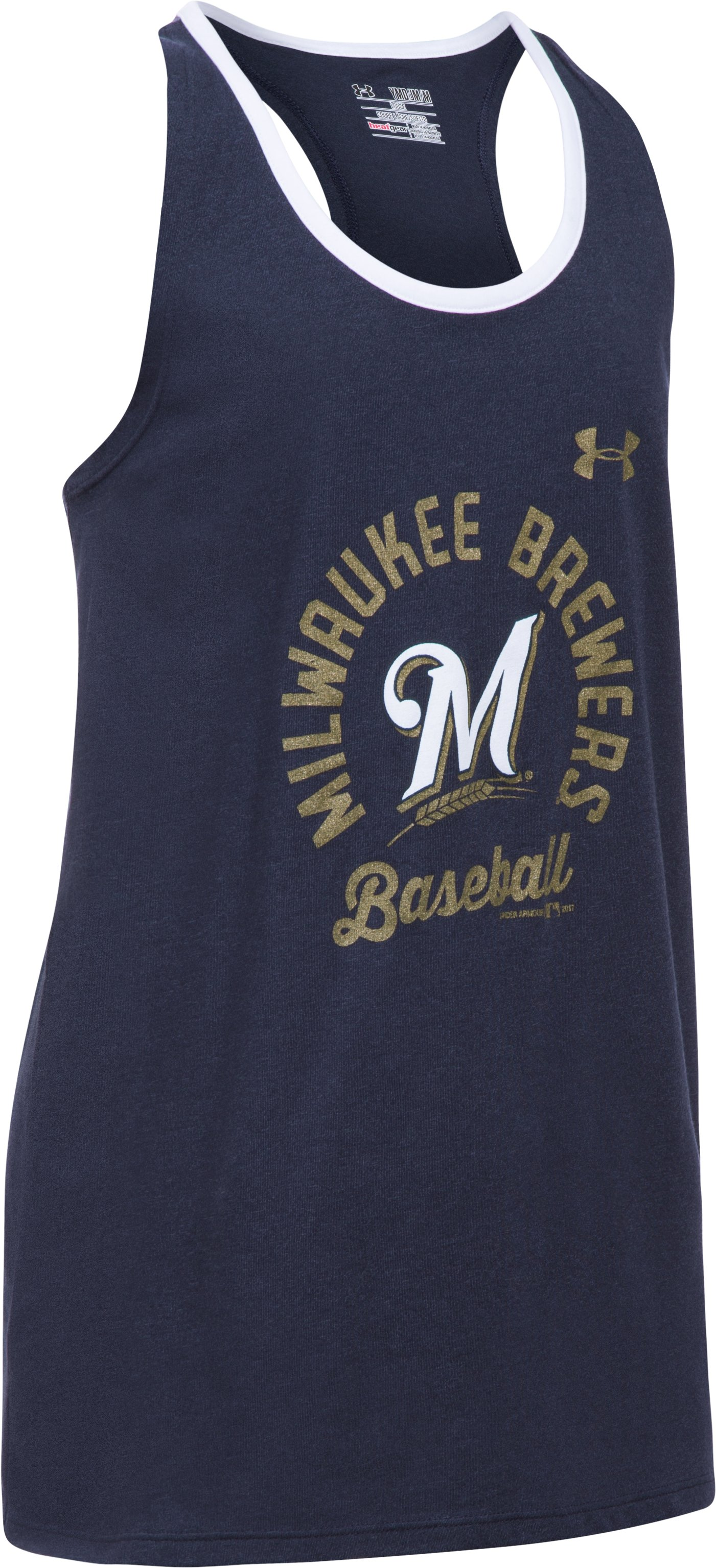 Girls' Milwaukee Brewers Ringer Tank, Midnight Navy,
