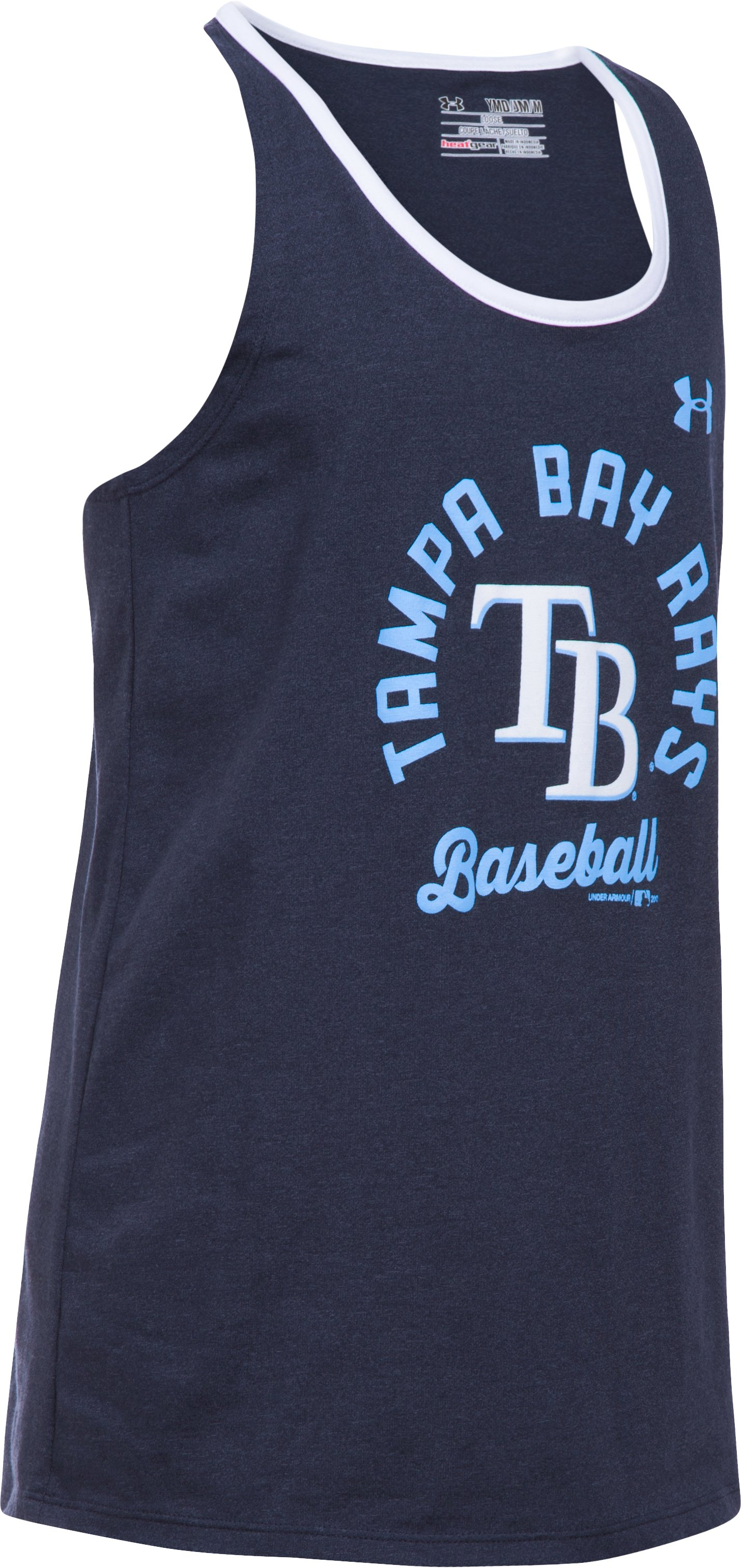 Girls' Tampa Bay Rays Ringer Tank, Midnight Navy, undefined