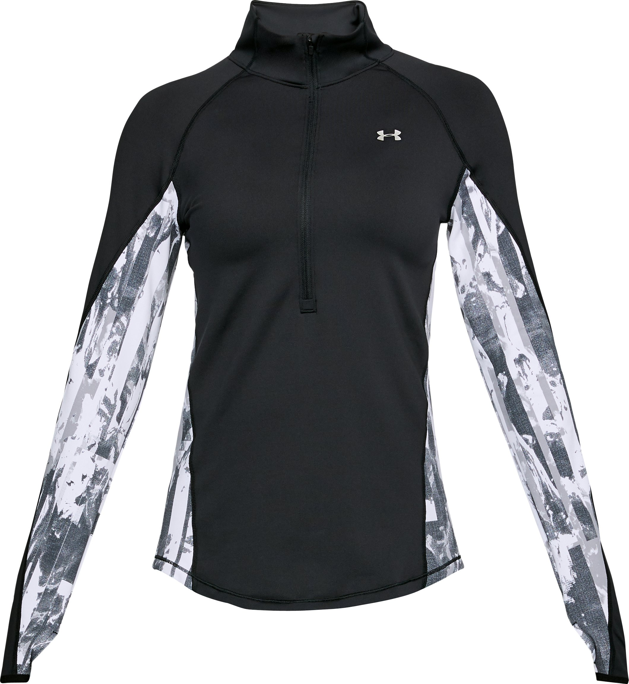 Women's ColdGear® Armour Printed ½ Zip, Black ,