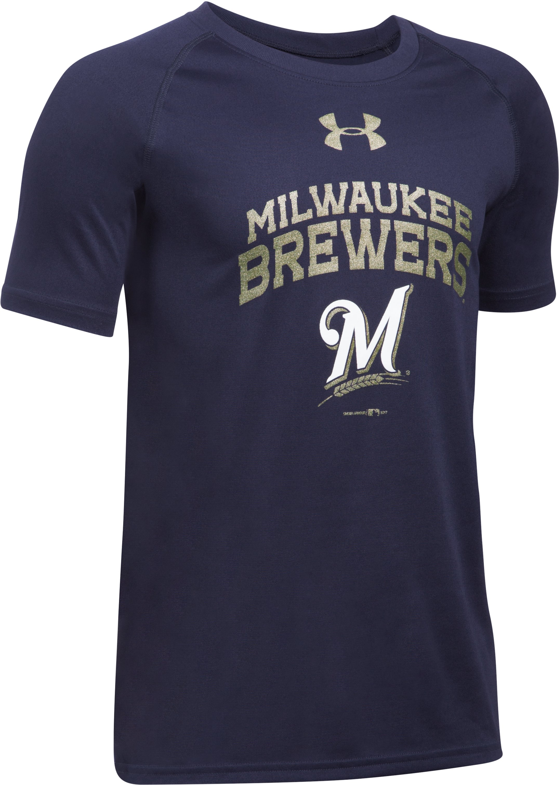 Boys' Milwaukee Brewers UA Tech™ T-Shirt, Midnight Navy