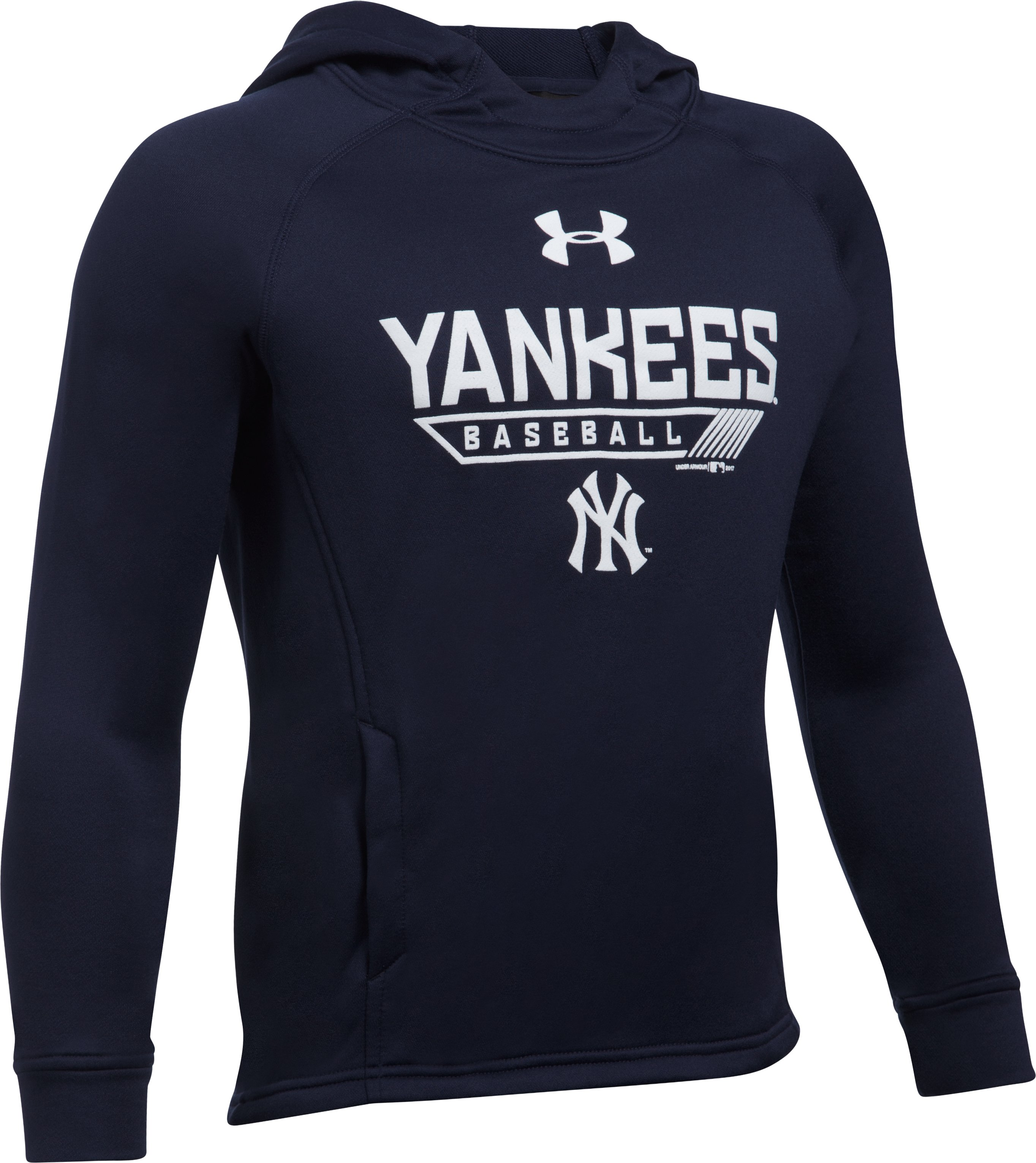 Boys' New York Yankees UA Tech™ Hoodie, Midnight Navy, undefined