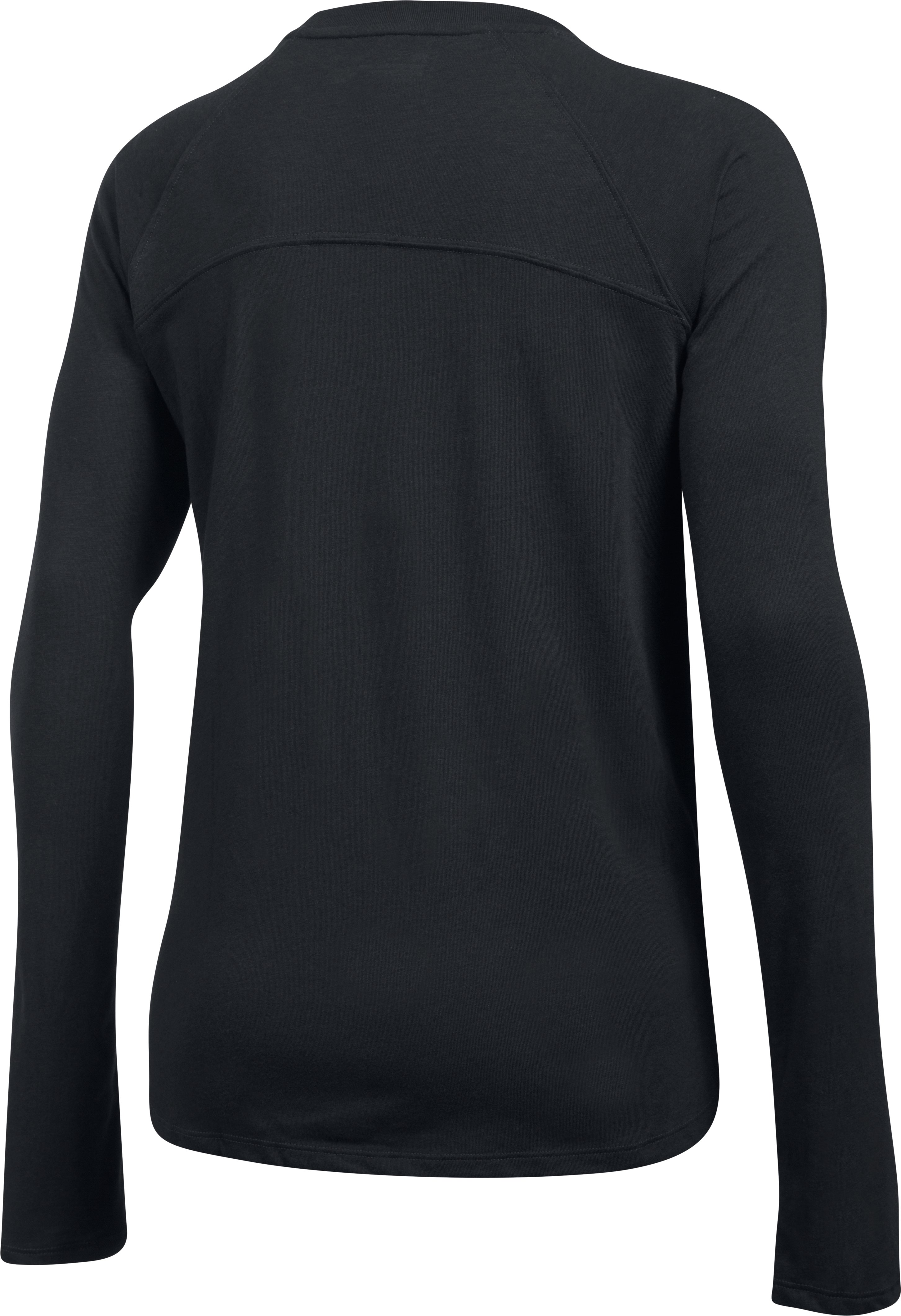 Women's UA Charged Cotton® Tri-Blend Long Sleeve, Black ,