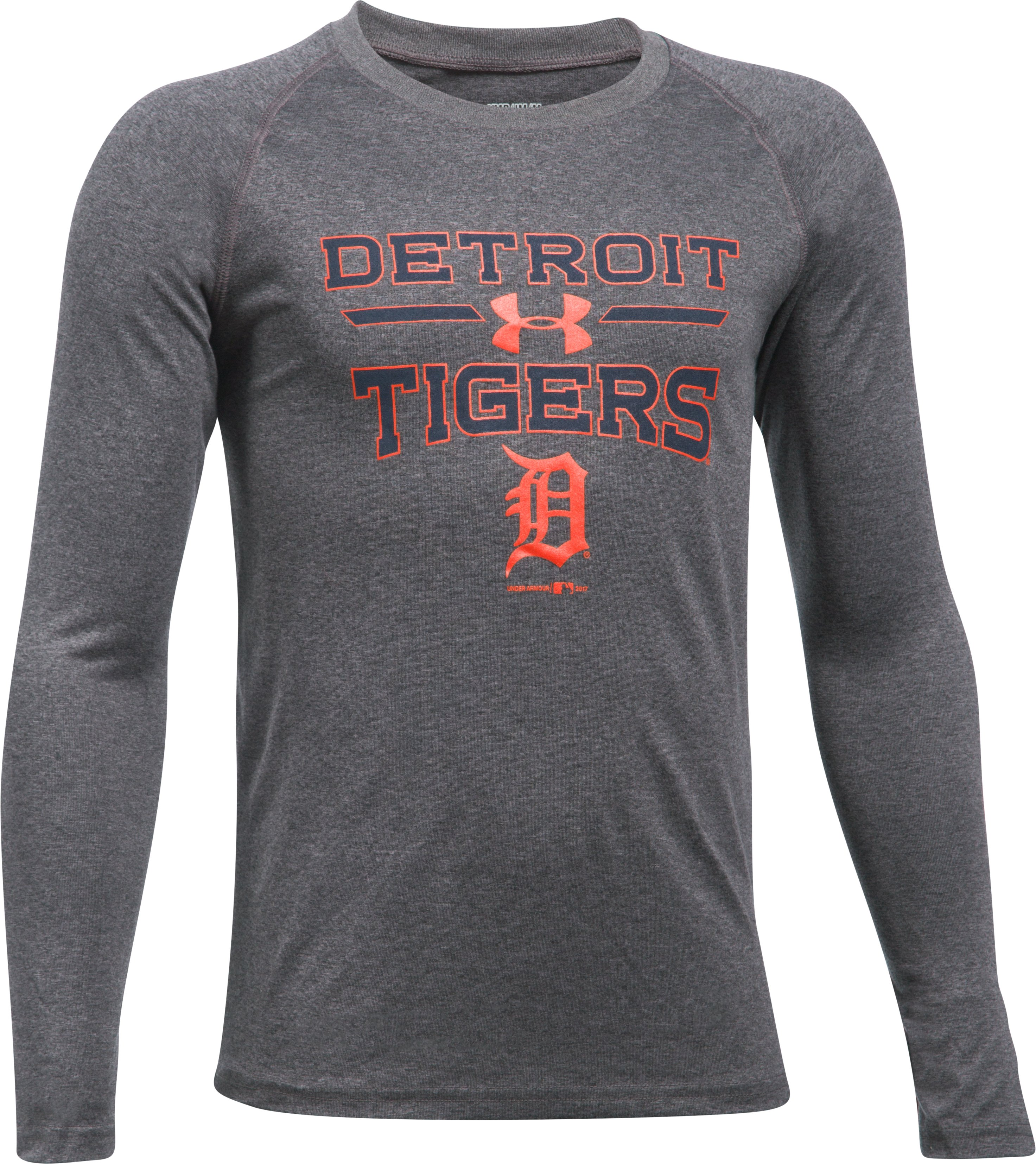 Boys' Detroit Tigers UA Tech™ Long Sleeve T-Shirt, Carbon Heather, undefined