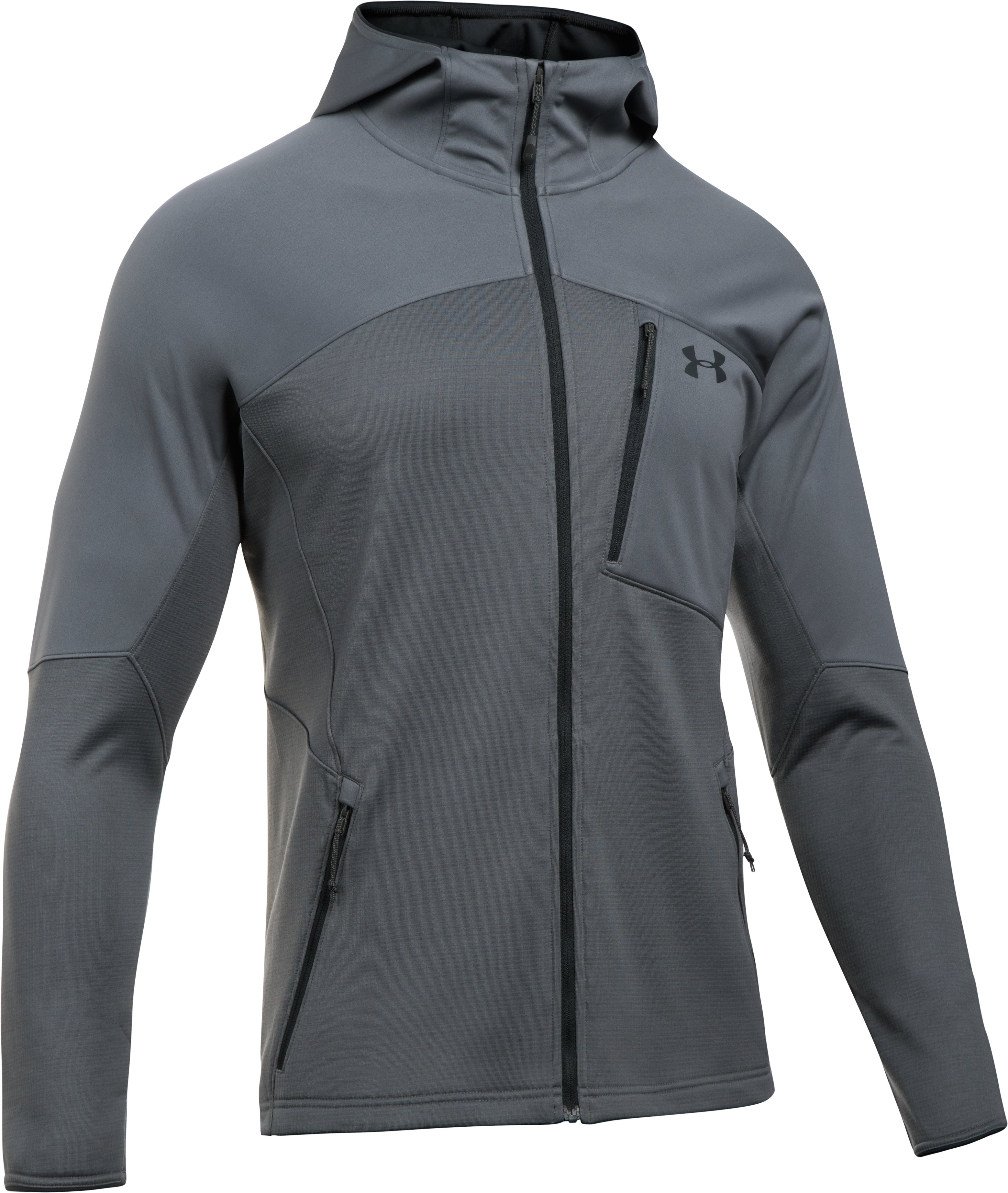 Men's UA ColdGear® Reactor Fleece Hoodie, RHINO GRAY, undefined