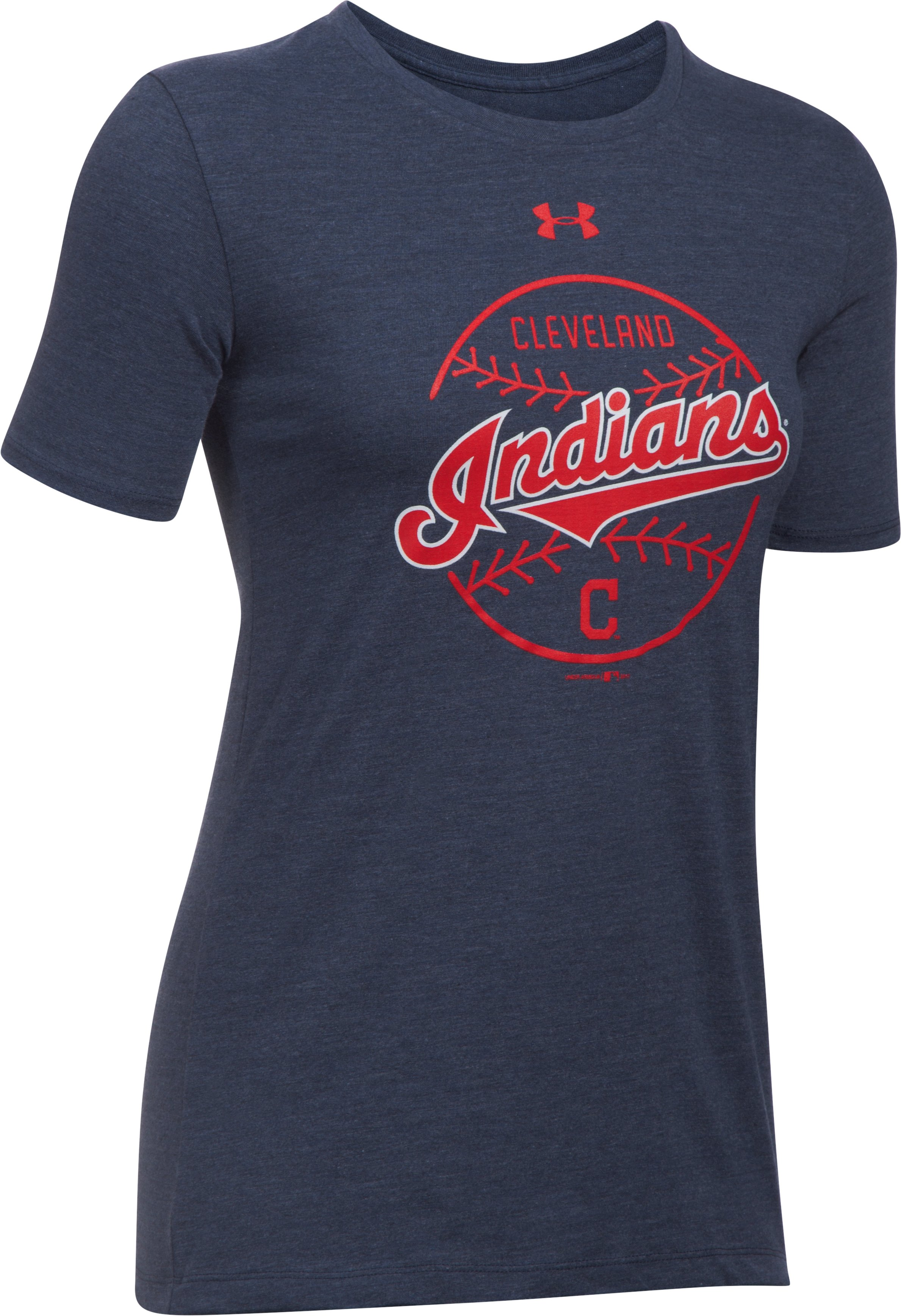 Women's Cleveland Indians UA Charged Cotton® Tri-Blend T-Shirt, Midnight Navy,