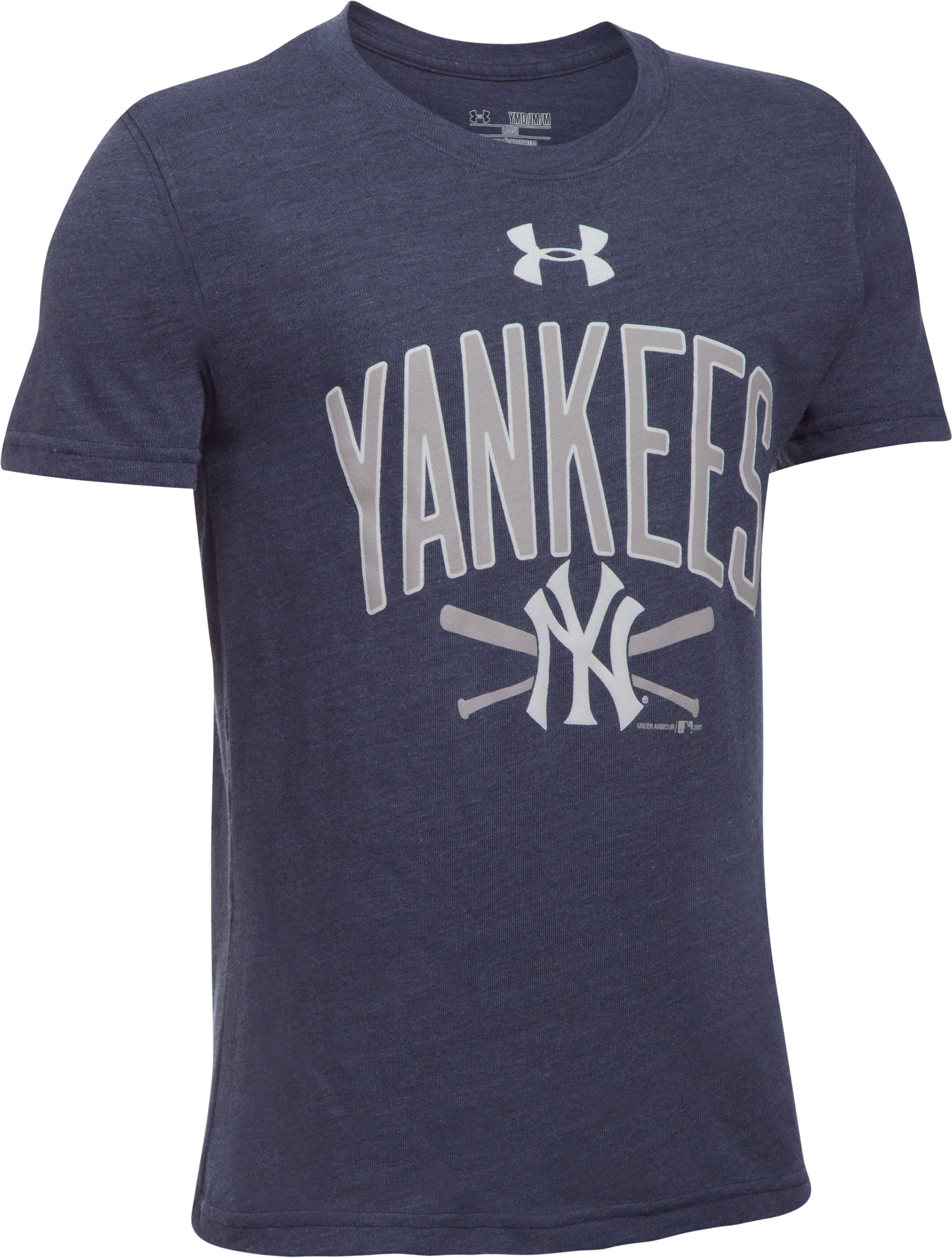 Boys' New York Yankees Tri-Blend T-Shirt, Midnight Navy, undefined