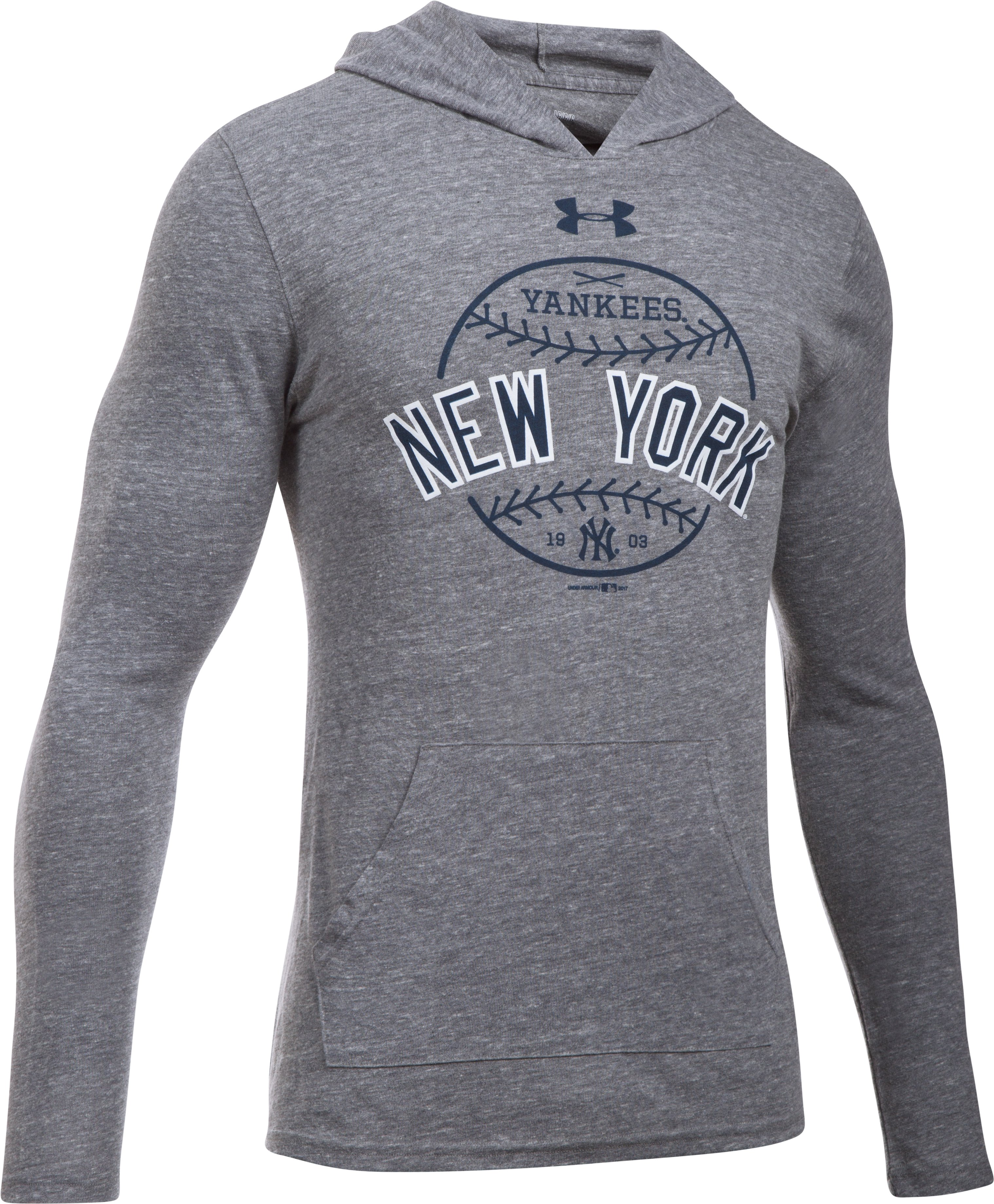 Men's New York Yankees Tri-Blend Hoodie, True Gray Heather,